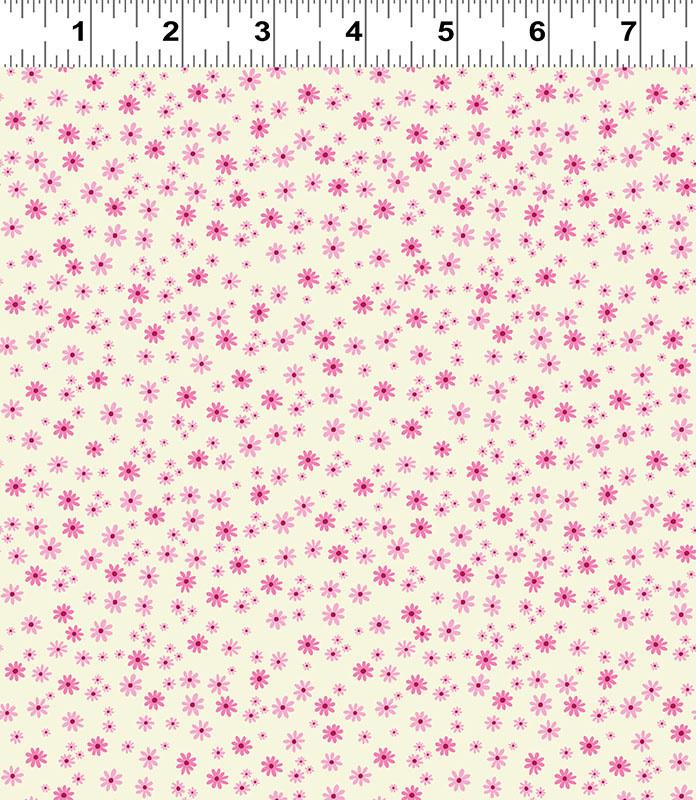 Clothworks FOREVER MAGIC, DAISIES, PINK ON CREAM (3048-74) PER CM OR $20/M