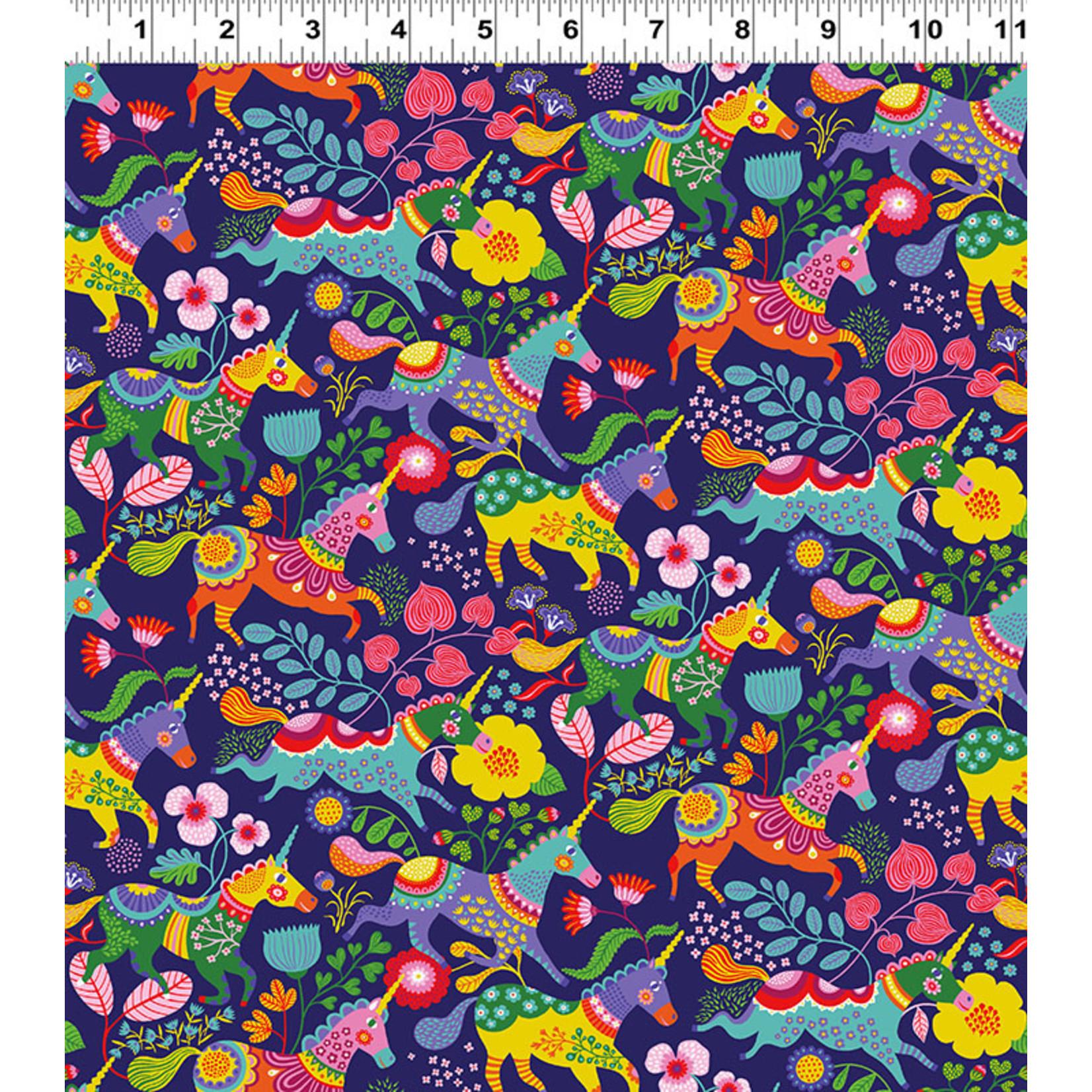 Clothworks FOREVER MAGIC, UNICORNS ON PURPLE (3044-93) PER CM OR $20/M