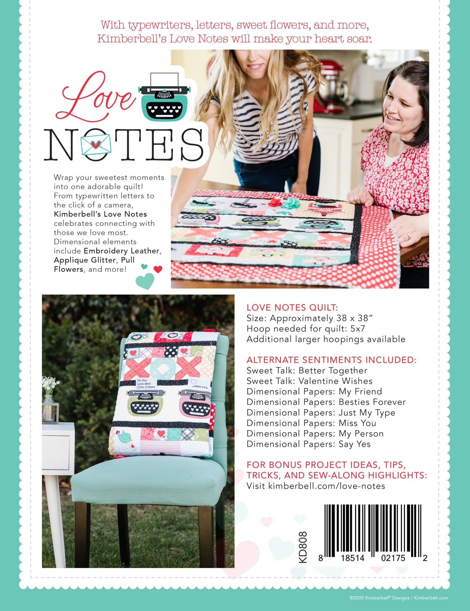KIMBERBELL DESIGNS Love Notes Mystery Quilt - Embroidery