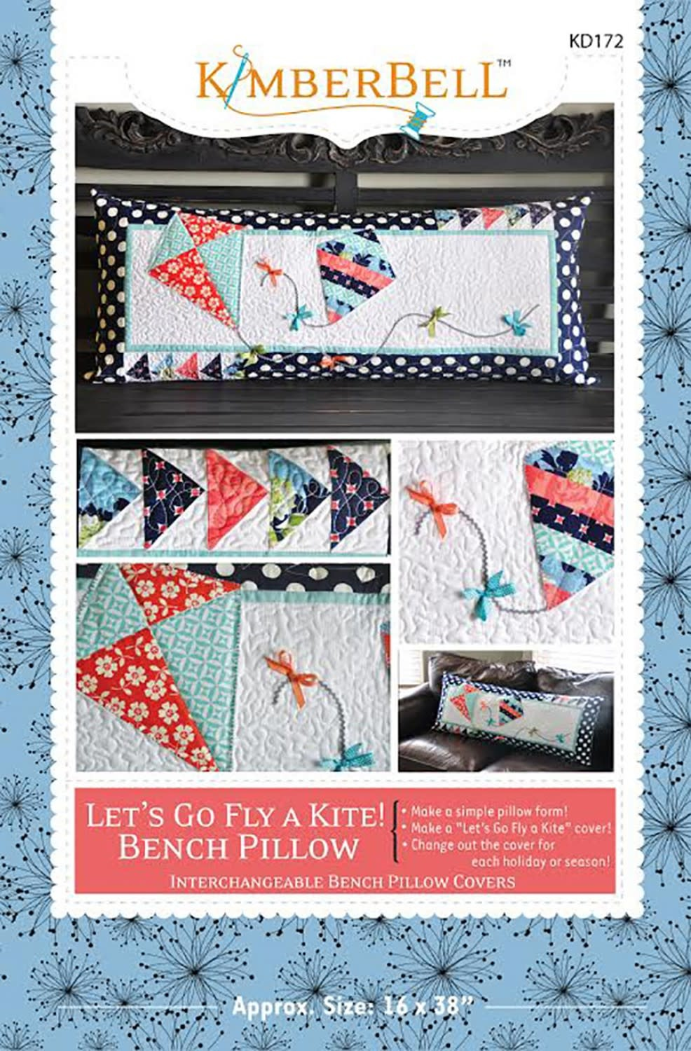 KIMBERBELL DESIGNS Let's Go Fly a Kite Bench Pillow Pattern