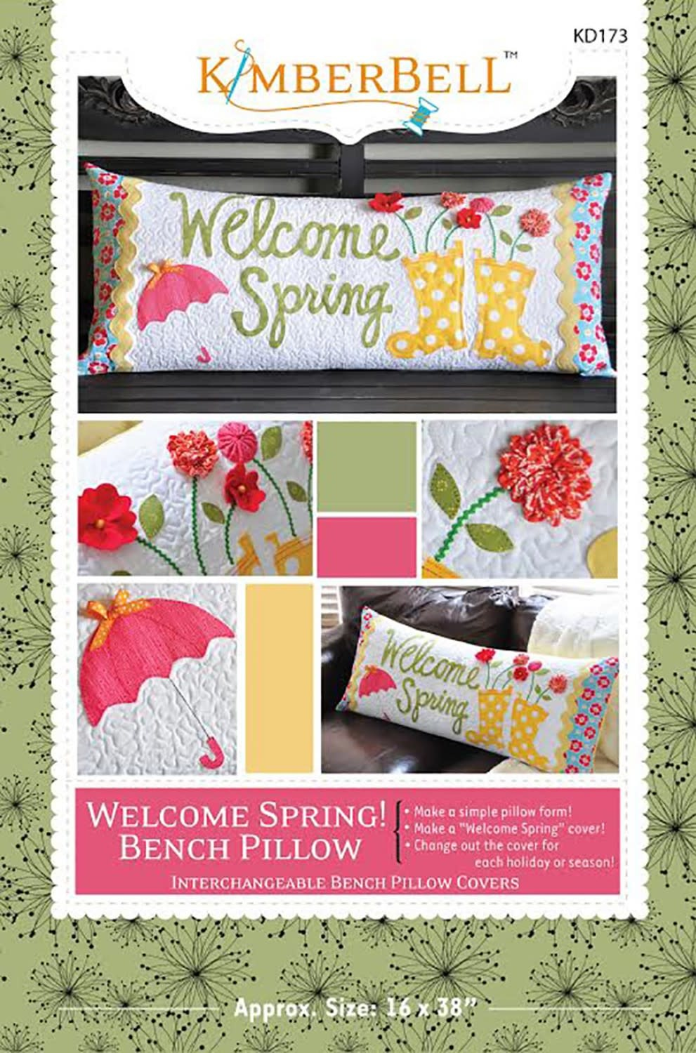 KIMBERBELL DESIGNS Welcome Spring! Bench Pillow Pattern