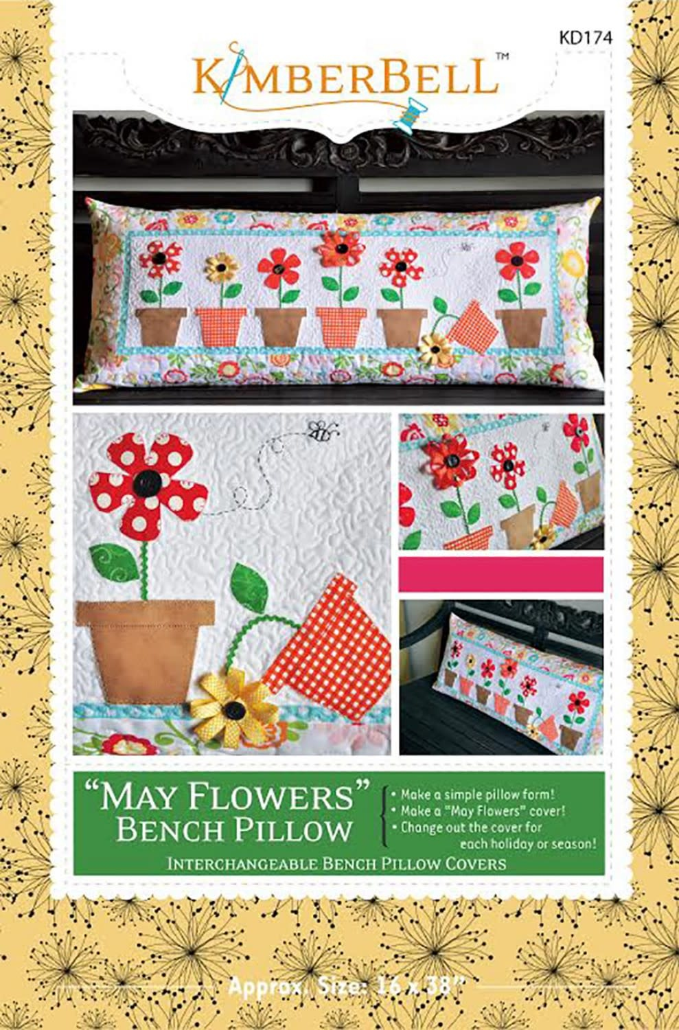 KIMBERBELL DESIGNS May Flowers Bench Pillow Pattern