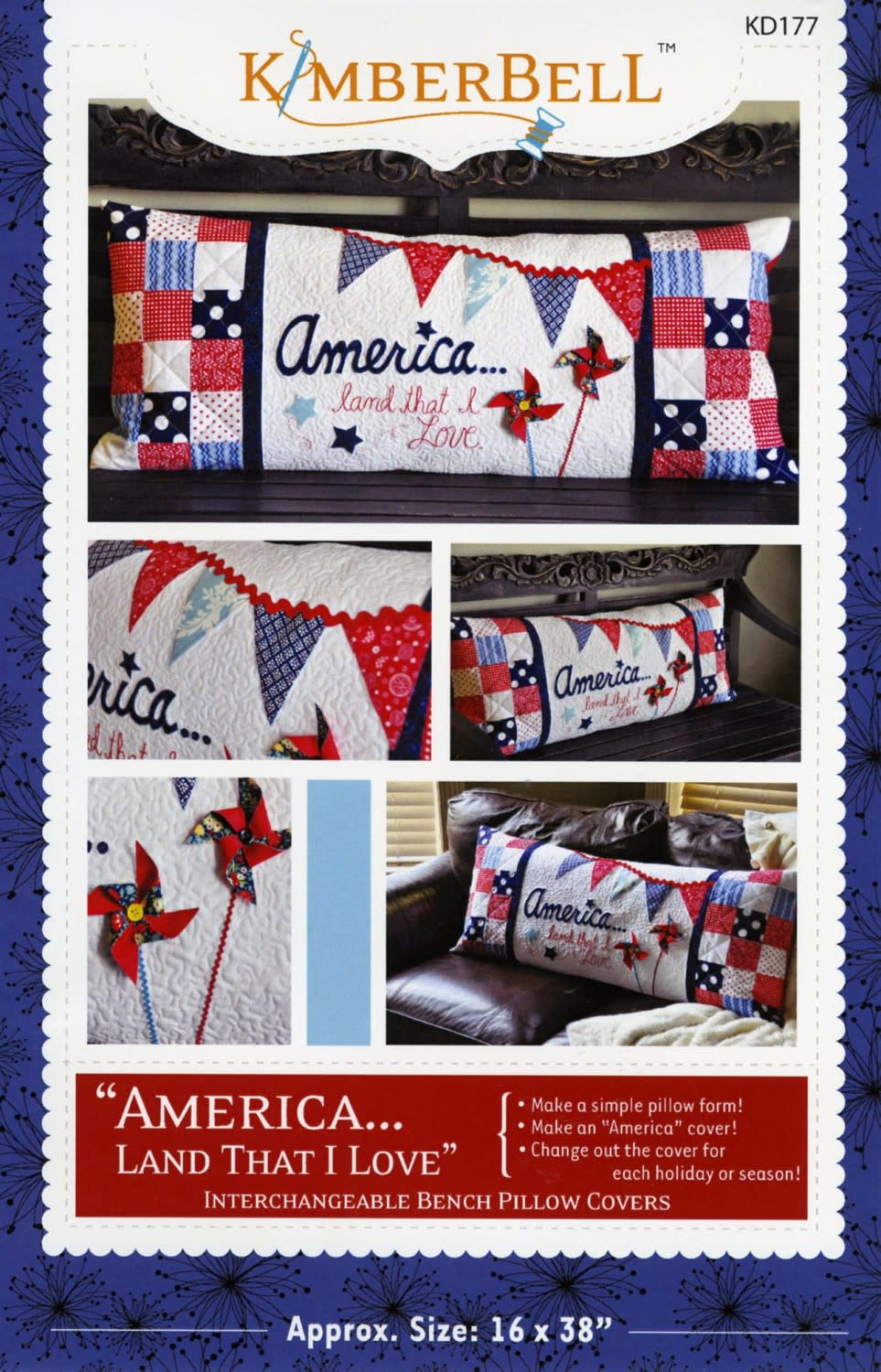 KIMBERBELL DESIGNS America Land That I Love Bench Pillow Pattern