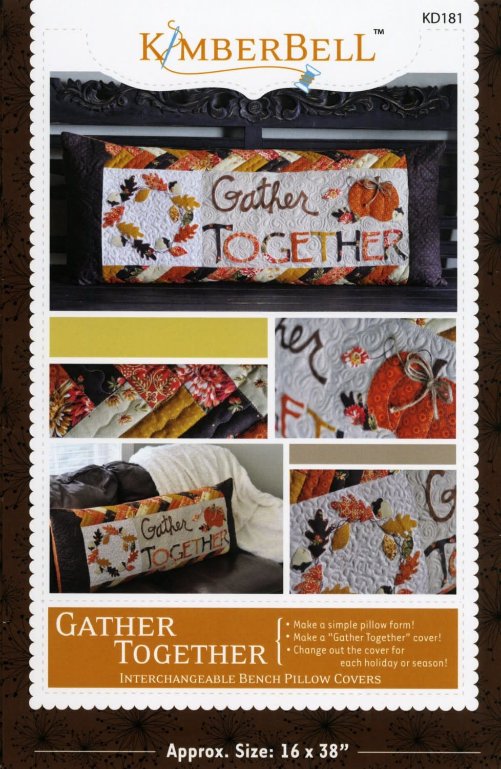 KIMBERBELL DESIGNS Gather Together Bench Pillow Pattern