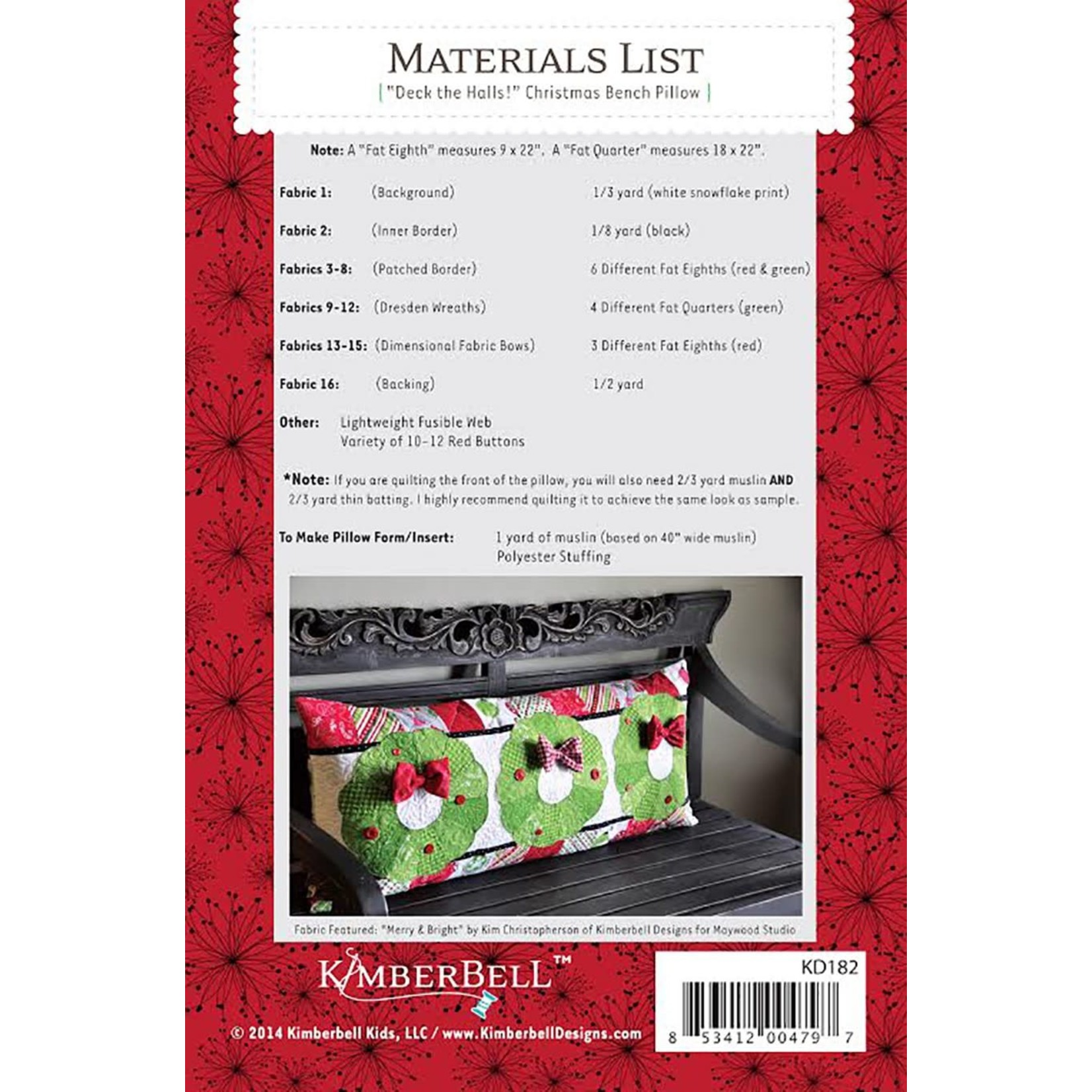 KIMBERBELL DESIGNS Deck the Halls Bench Pillow Pattern