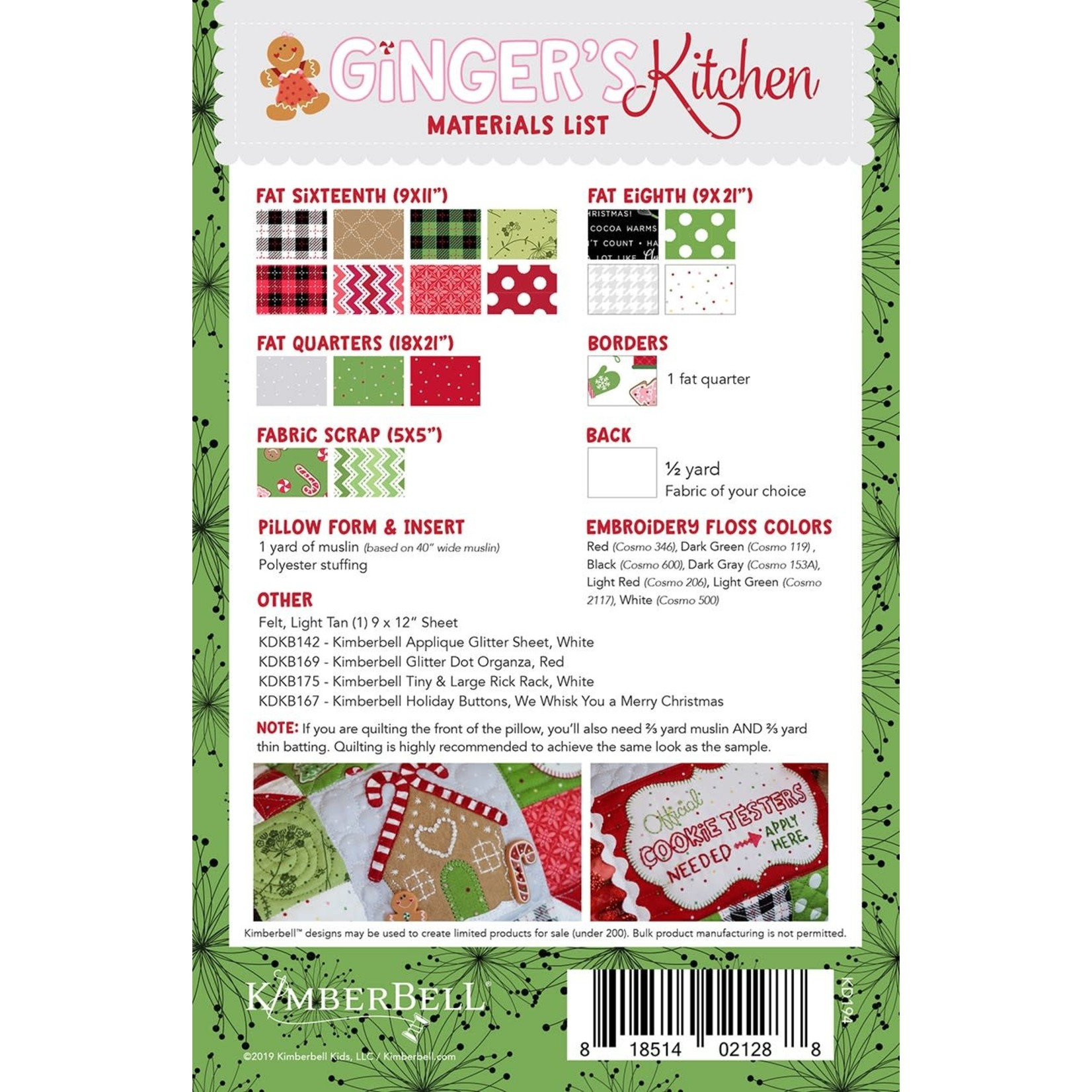 Kimberbell Designs Ginger's Kitchen Bench Pillow, Sewing Version
