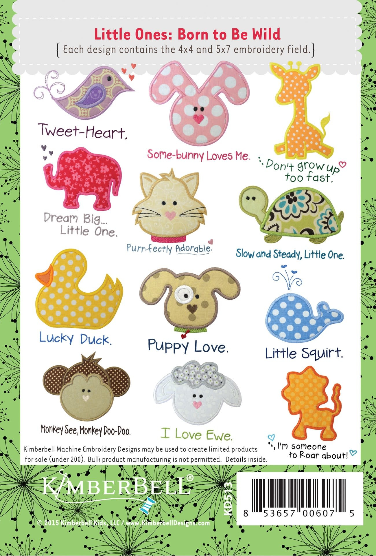 KIMBERBELL DESIGNS Kimberbell Little Ones, Volume 1: Born to be Wild Embroidery Designs CD