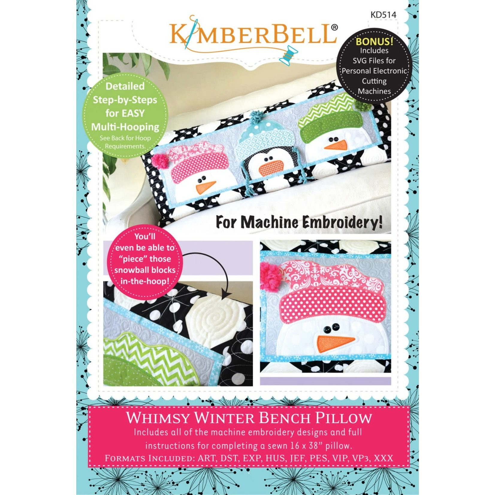Kimberbell Designs Whimsy Winter Bench Pillow Embroidery Designs CD