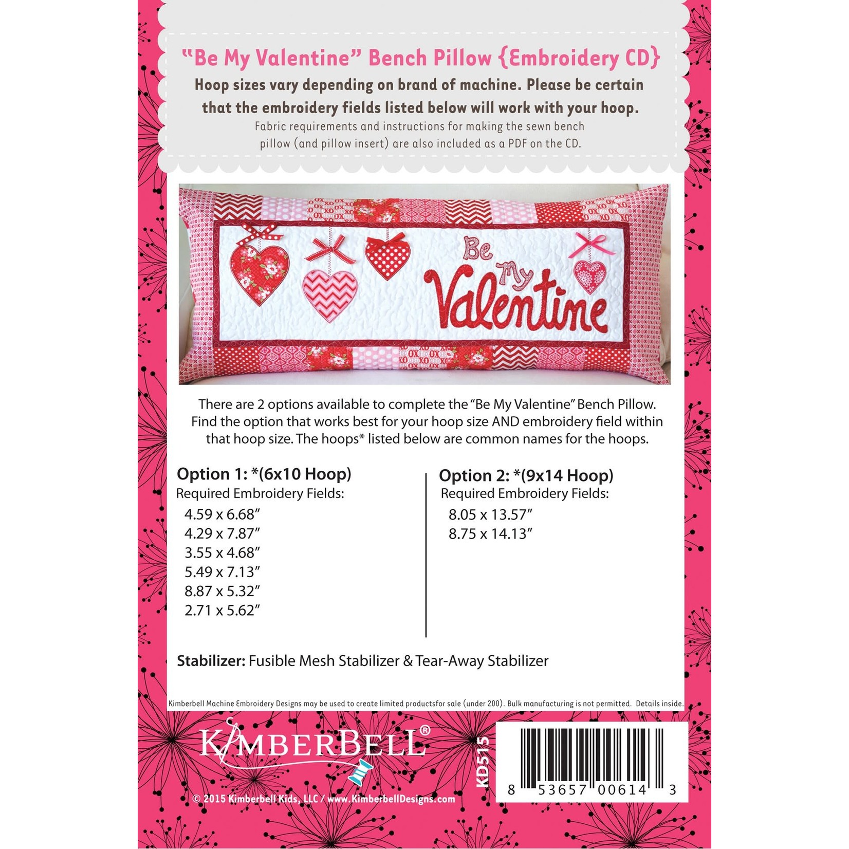 Kimberbell Designs Be My Valentine Bench Pillow Embroidery Designs CD