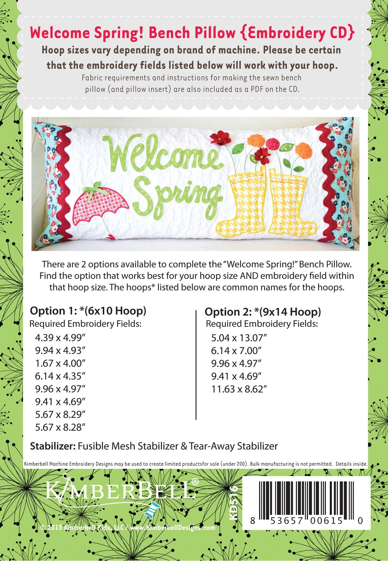 KIMBERBELL DESIGNS Welcome Spring Bench Pillow Embroidery Designs CD