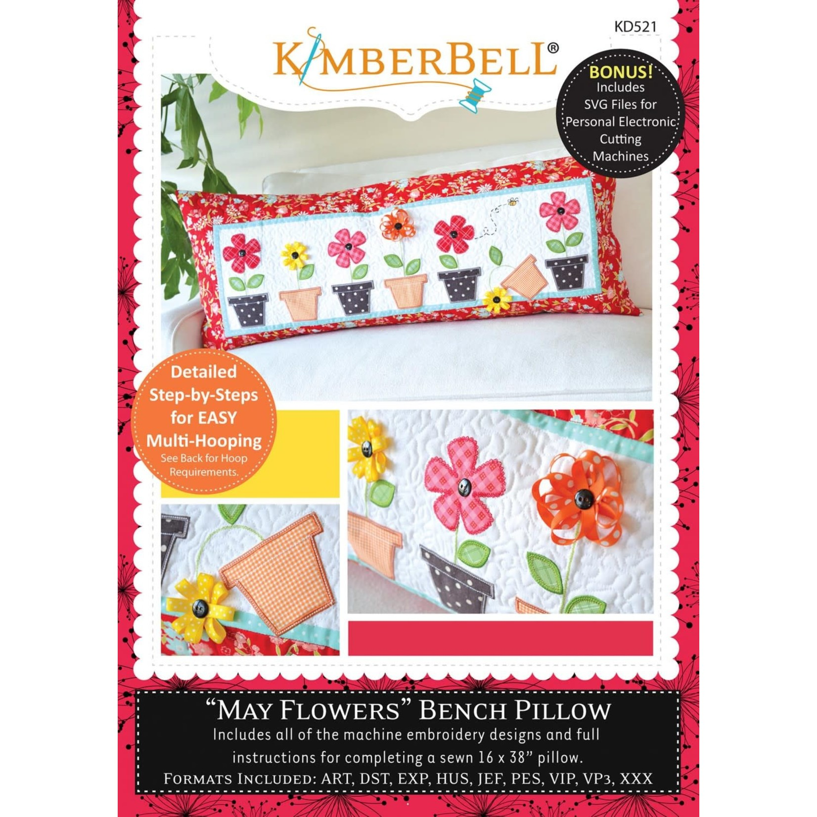 KIMBERBELL DESIGNS May Flowers Bench Pillow Machine Embroidery CD