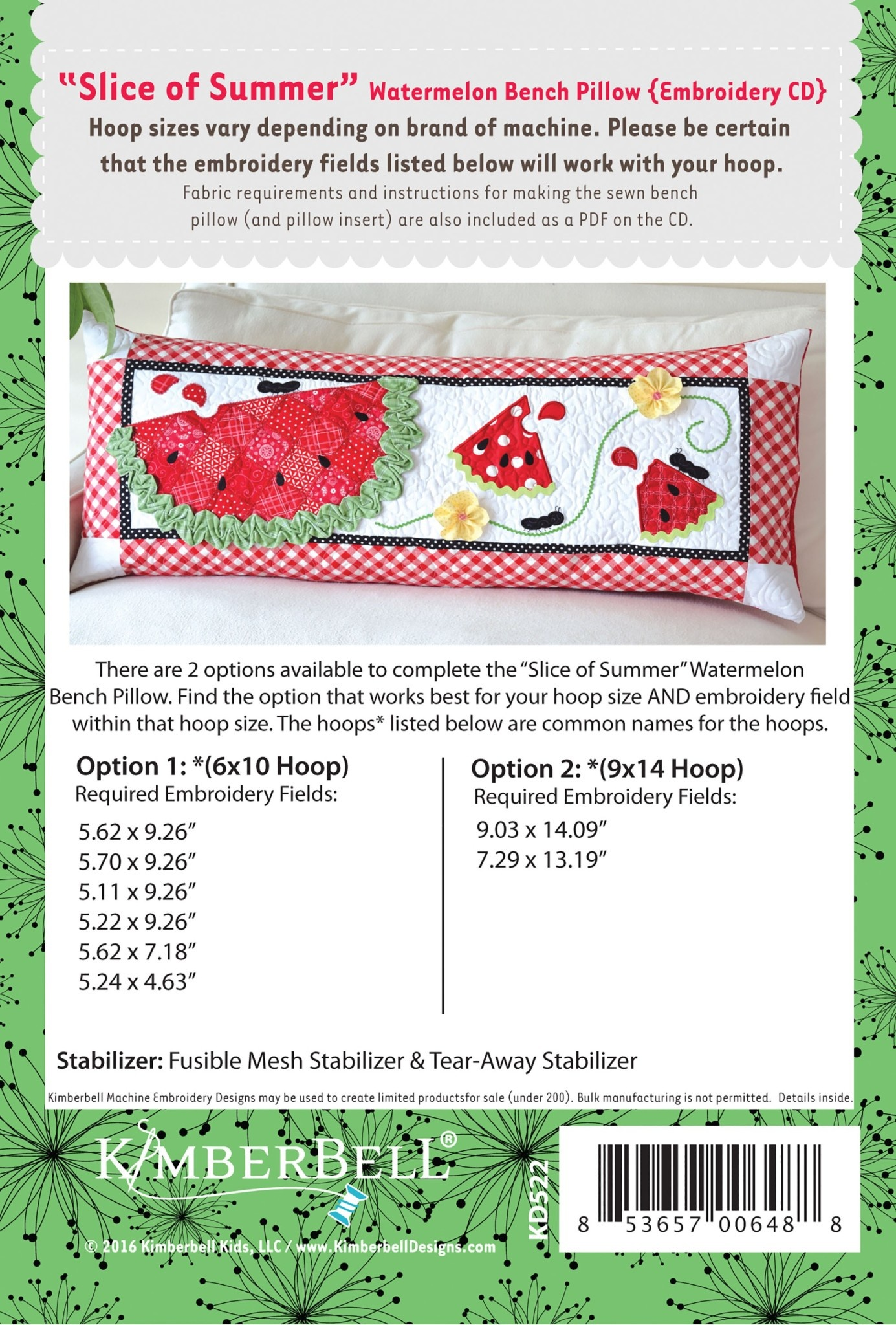 KIMBERBELL DESIGNS Slice of Summer Watermelon - Bench Pillow Machine Embroidery CD