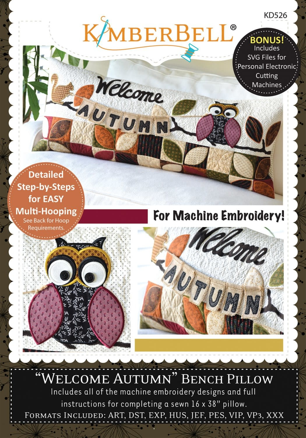 KIMBERBELL DESIGNS Welcome Autumn! Bench Pillow Machine Embroidery CD