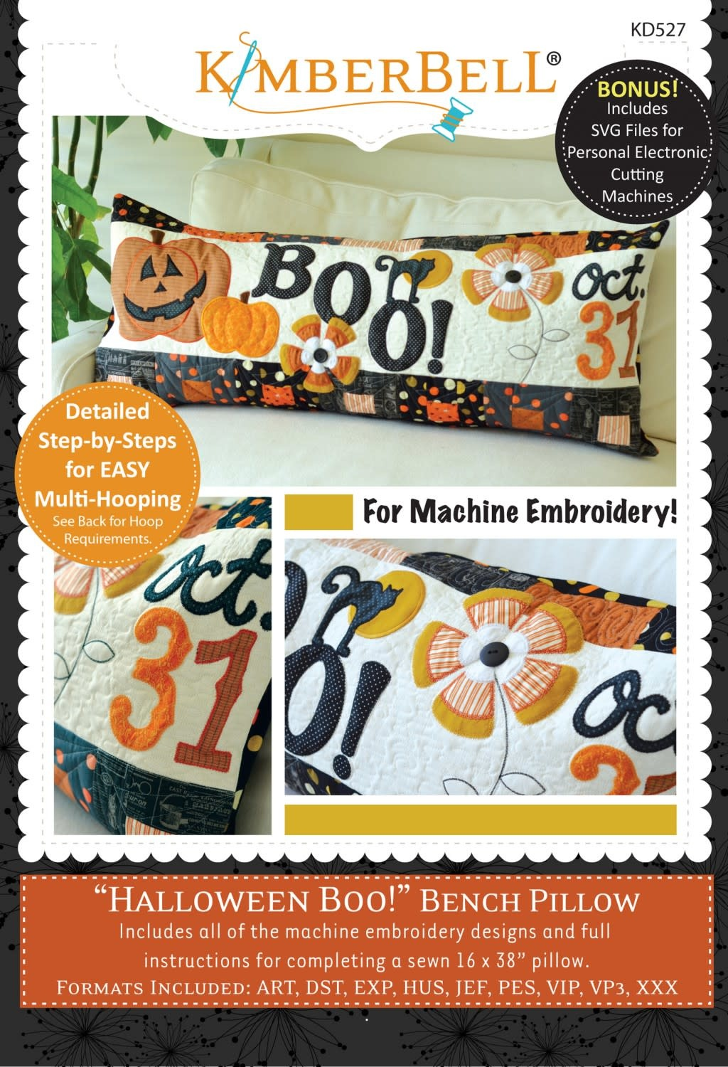 KIMBERBELL DESIGNS Halloween Boo! Bench Pillow Machine Embroidery CD