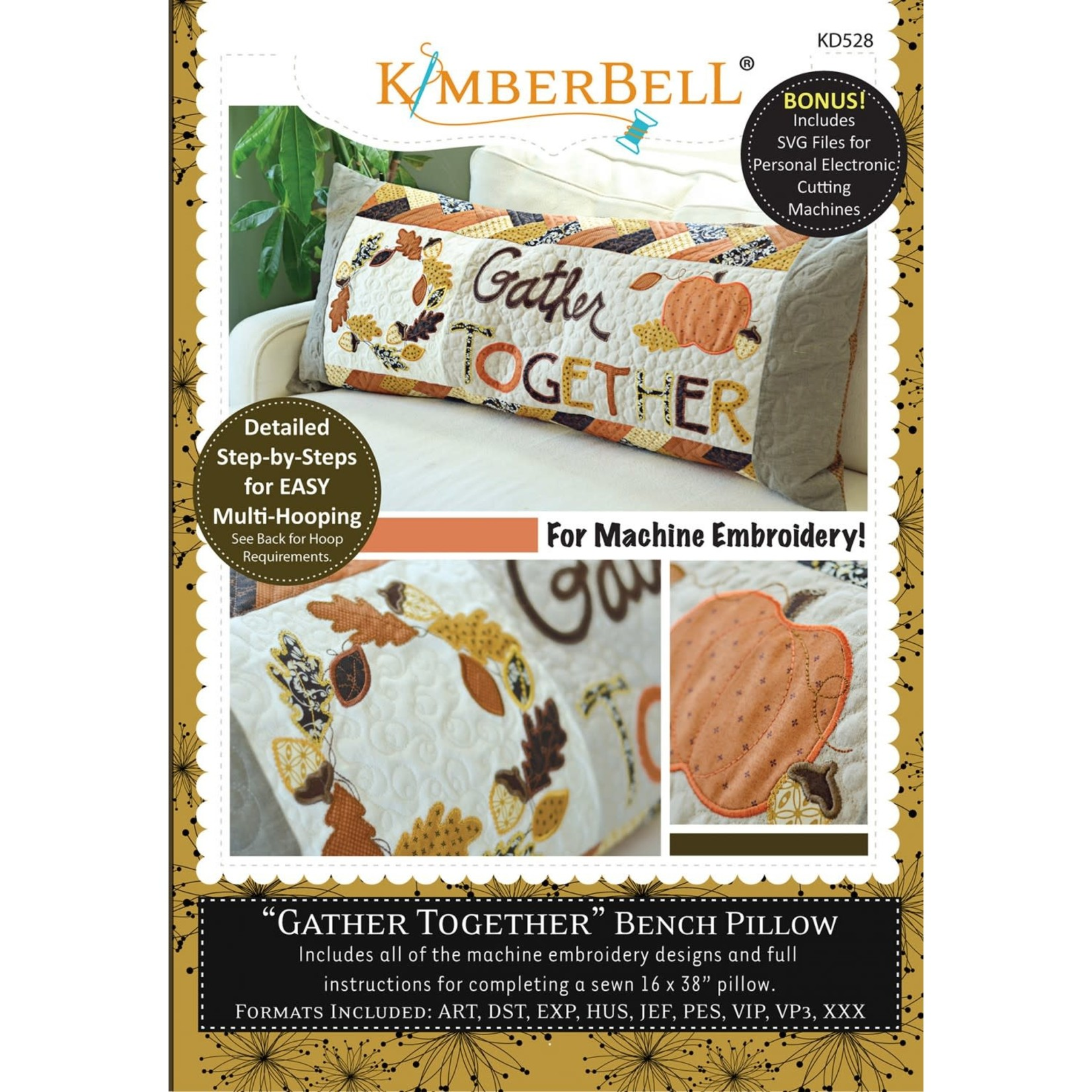 Kimberbell Designs Gather Together - Bench Pillow Machine Embroidery CD