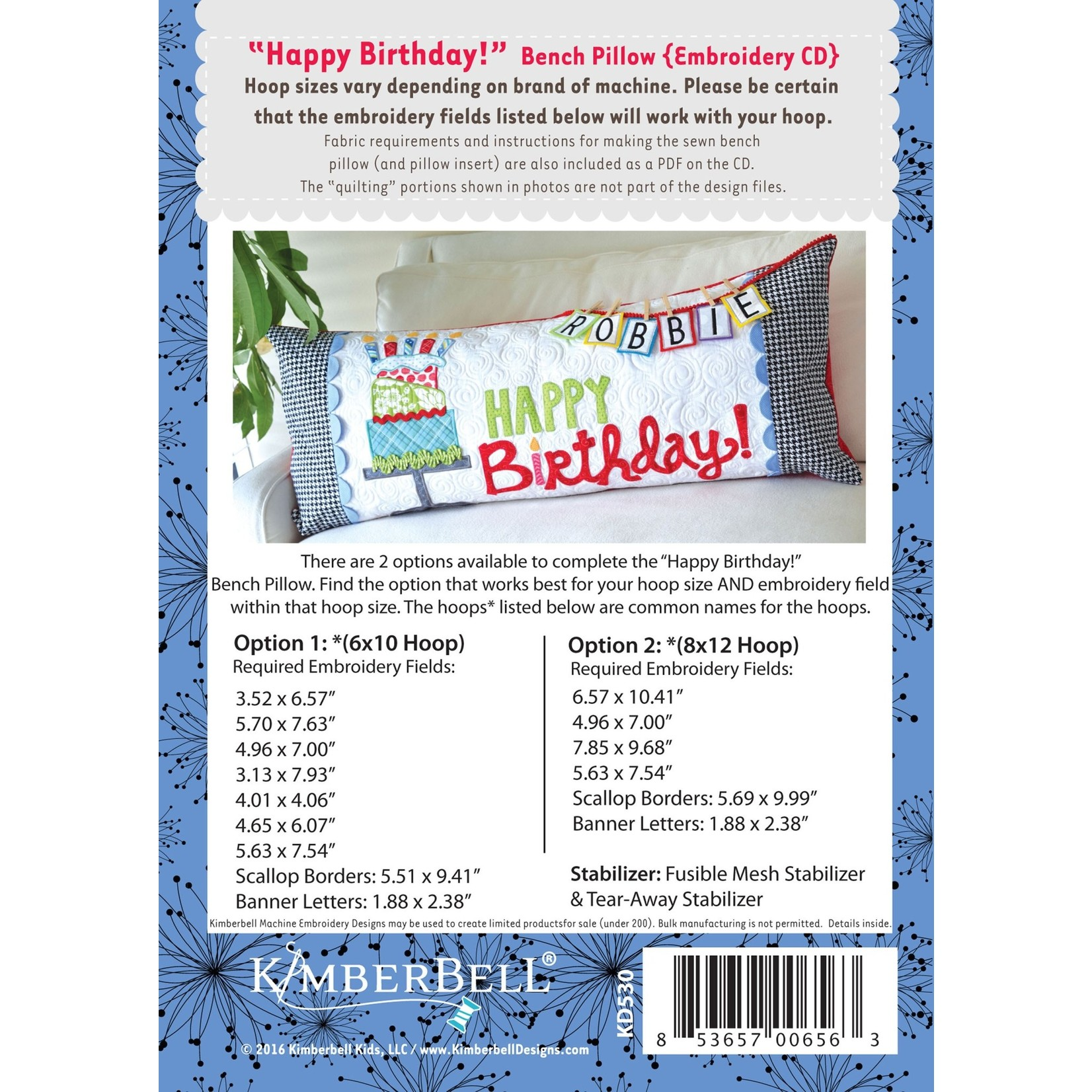 KIMBERBELL DESIGNS Happy Birthday! Bench Pillow Machine Embroidery CD