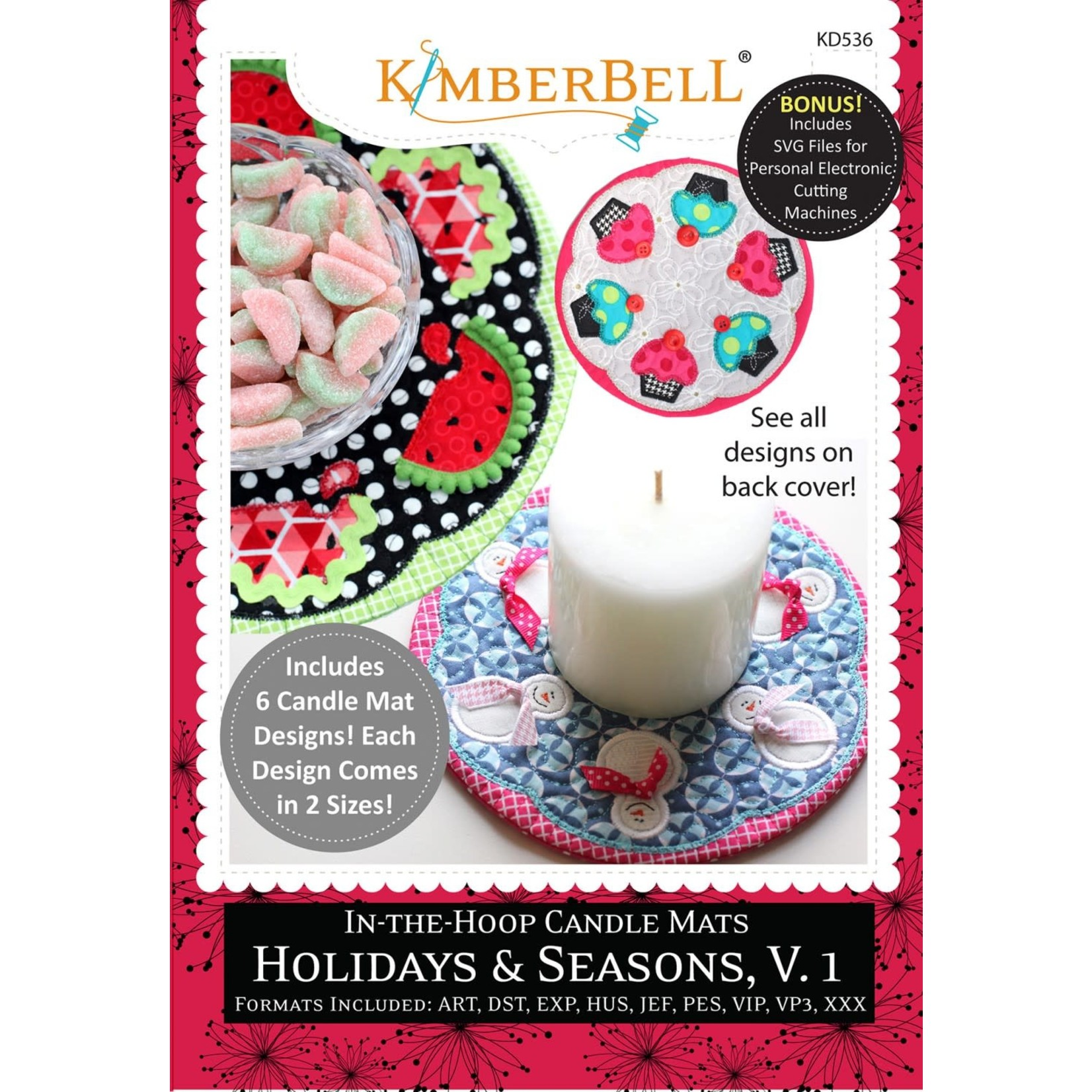 KIMBERBELL DESIGNS In-the-Hoop Candle Mats: Holidays & Seasons, Volume 1 Machine Embroidery CD