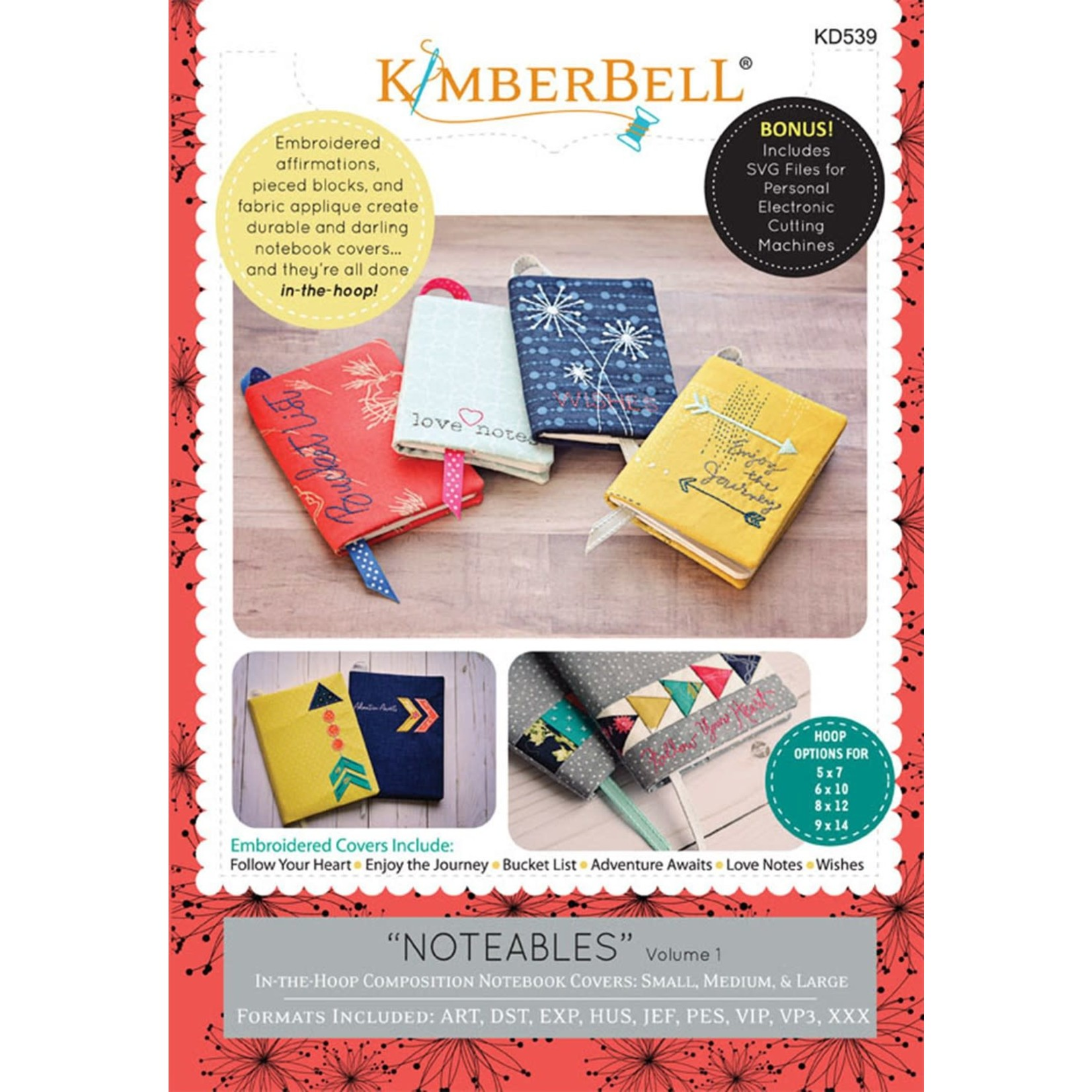 KIMBERBELL DESIGNS Notables: Composition Notebook Covers, Volume 1 Machine Embroidery CD
