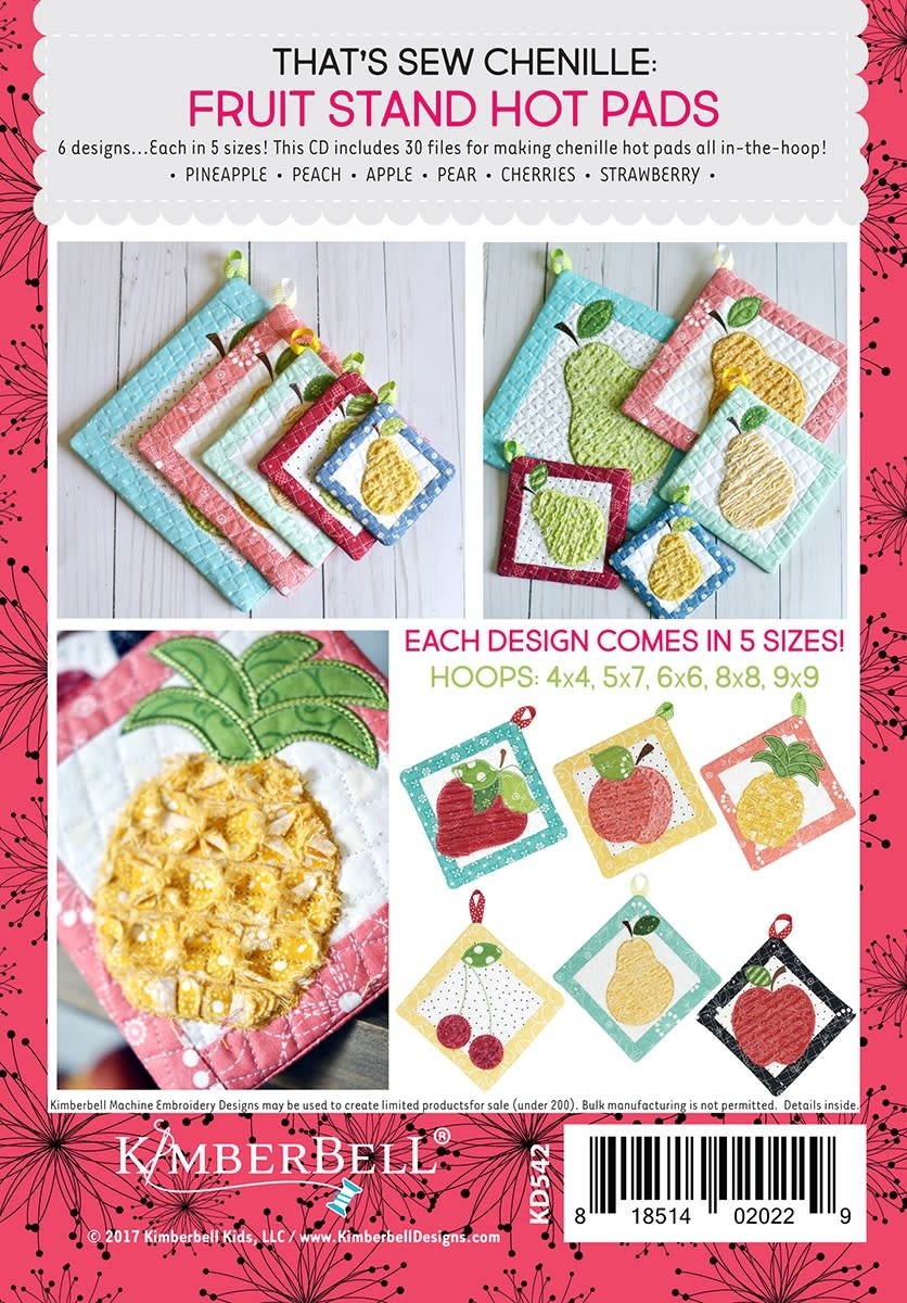 KIMBERBELL DESIGNS That's Sew Chenille: Fruit Stand Hot Pads Machine Embroidery CD