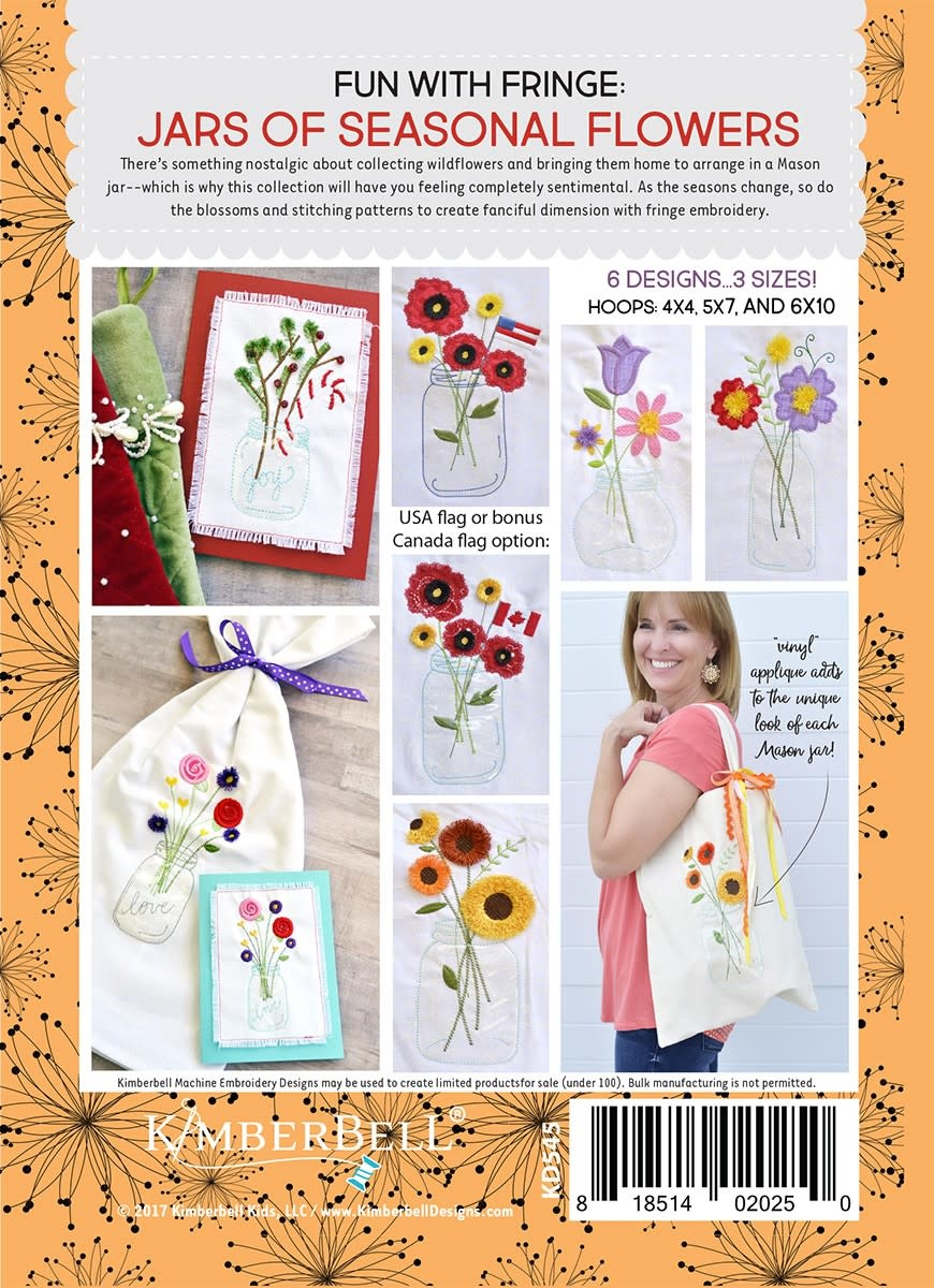 KIMBERBELL DESIGNS Fun with Fringe: Jars of Seasonal Flowers Machine Embroidery CD