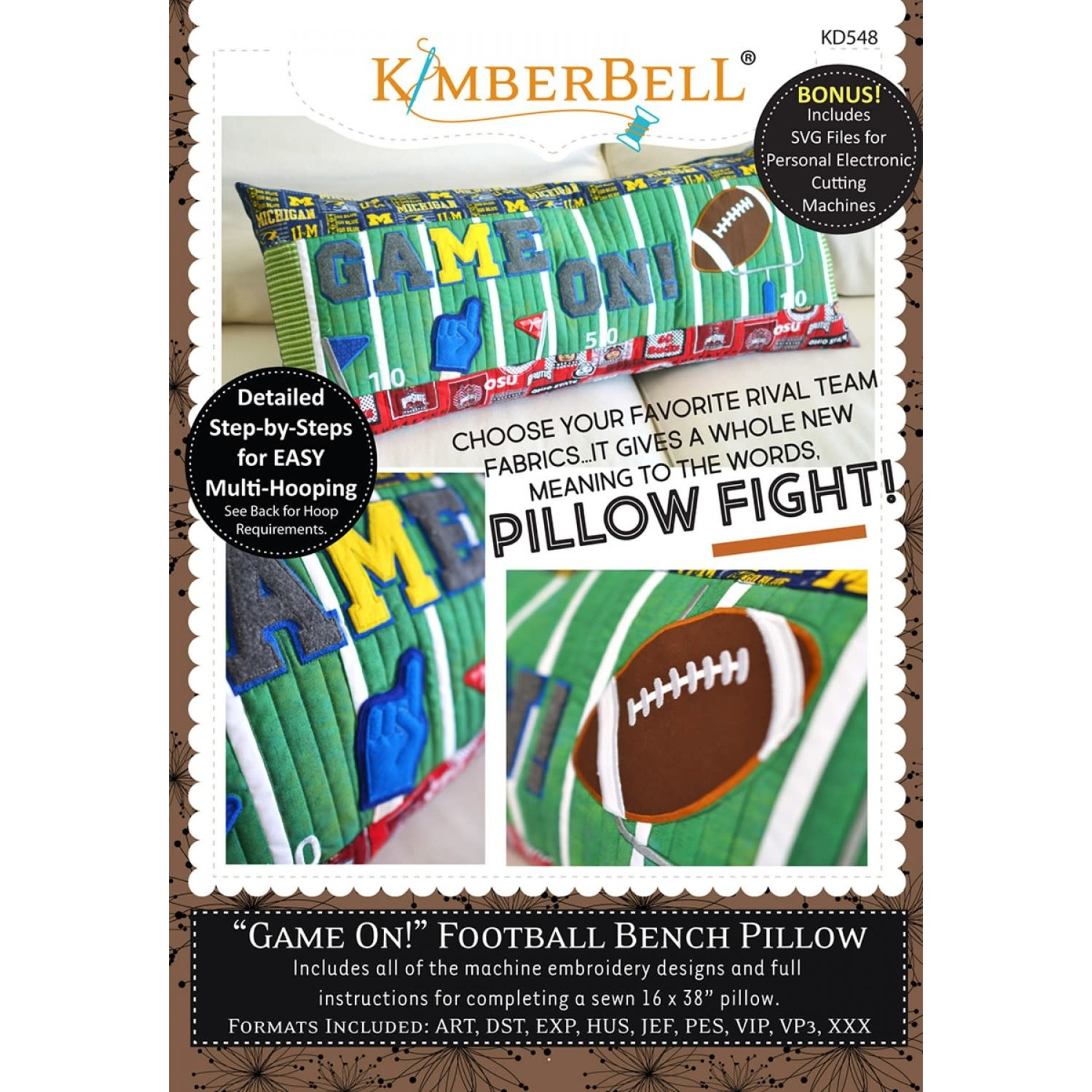 Kimberbell Designs Game On! Football Bench Pillow Embroidery CD