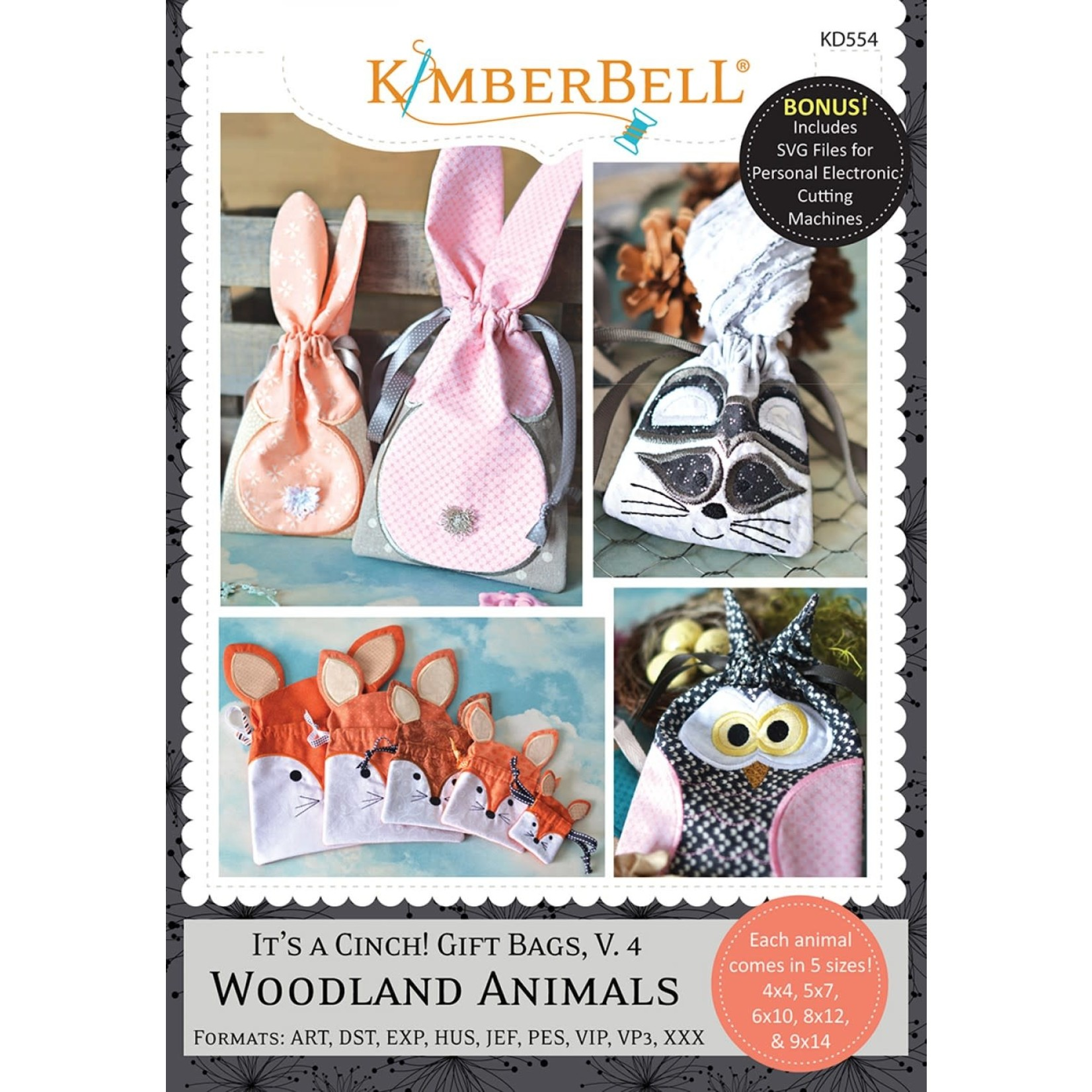 KIMBERBELL DESIGNS It's a Cinch! Gift Bags, Volume 4, Woodland Animals Machine Embroidery CD