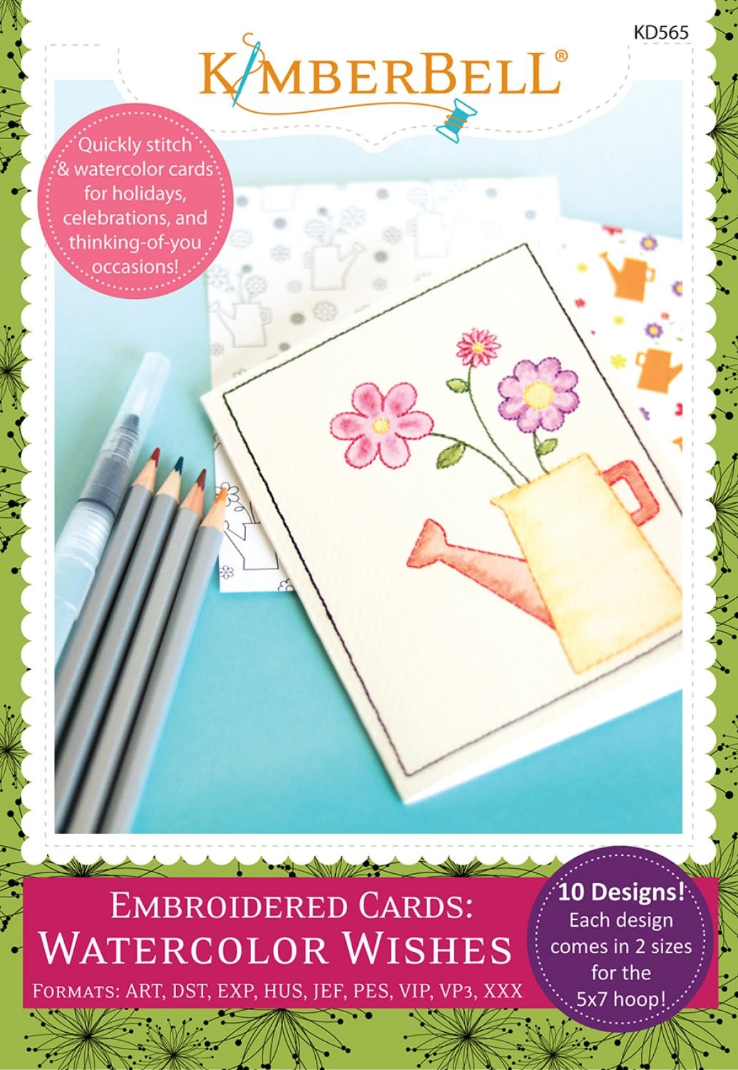 KIMBERBELL DESIGNS Embroidery Cards: Watercolor Wishes