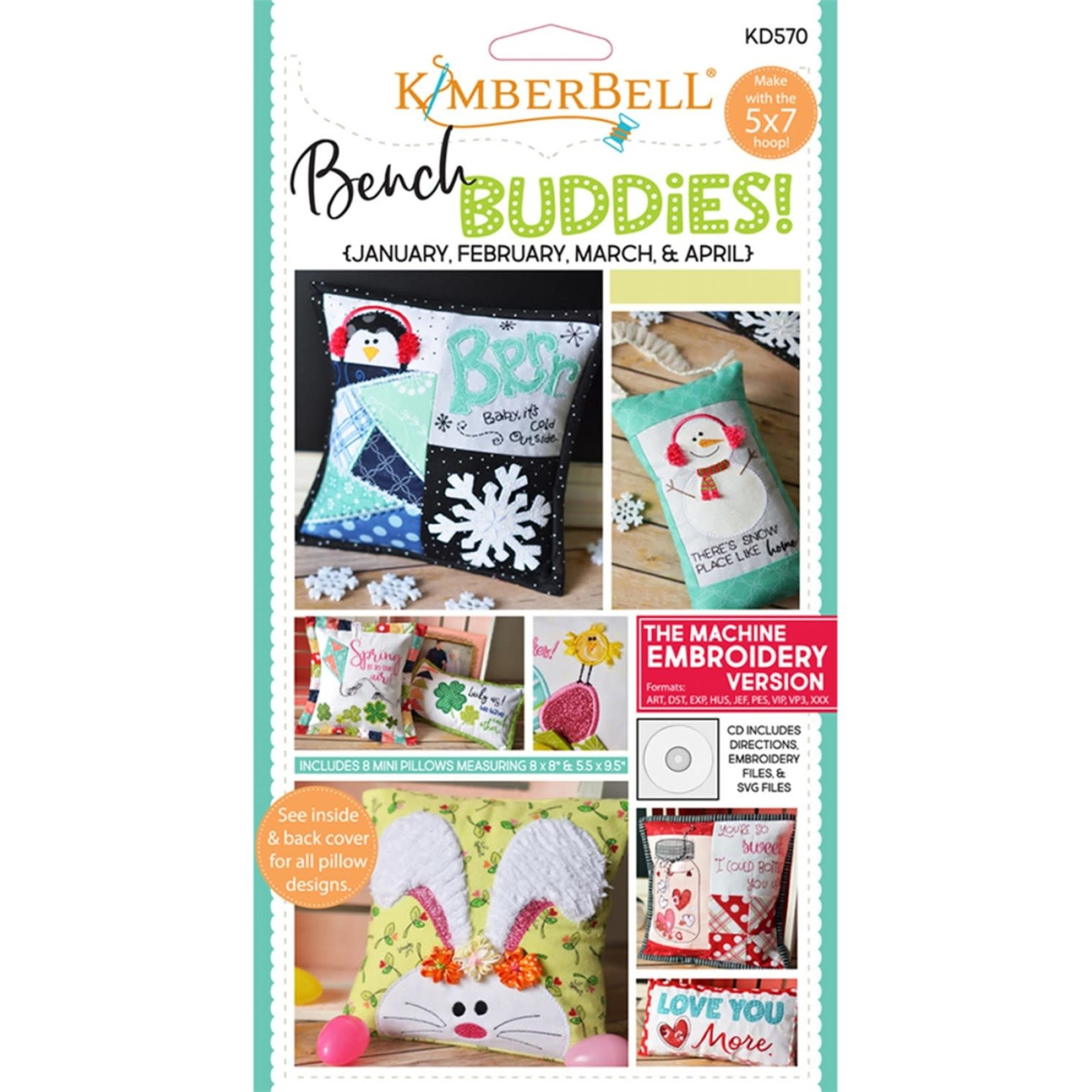 "KIMBERBELL DESIGNS ""Bench Buddy"" Series January, February, March, April  (Machine Embroidery)"