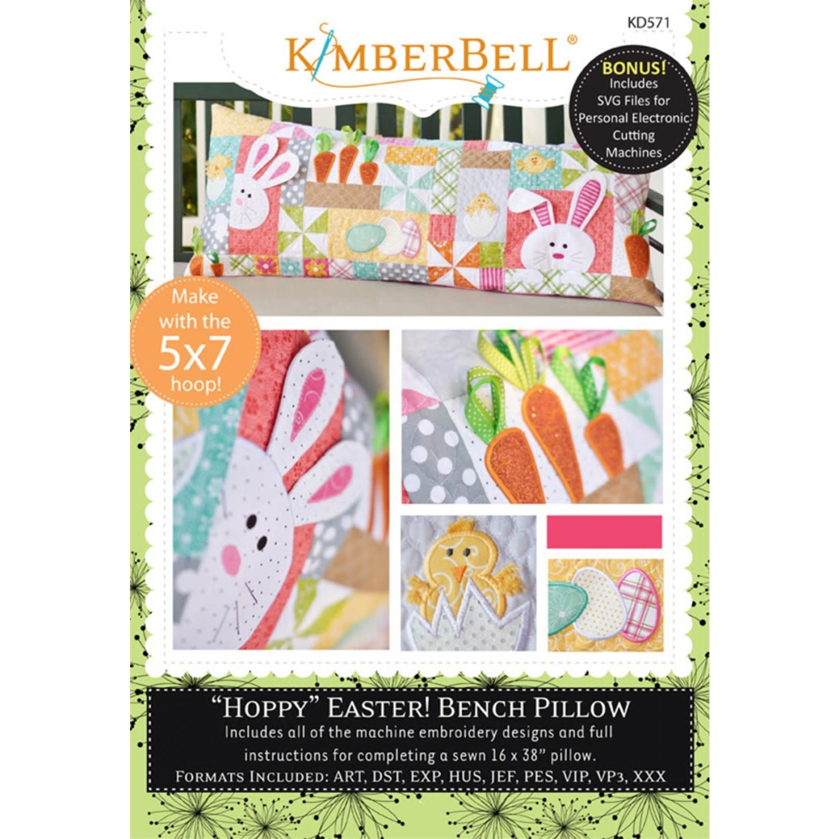 Kimberbell Designs Hoppy Easter Bench Pillow (Machine Embroidery)