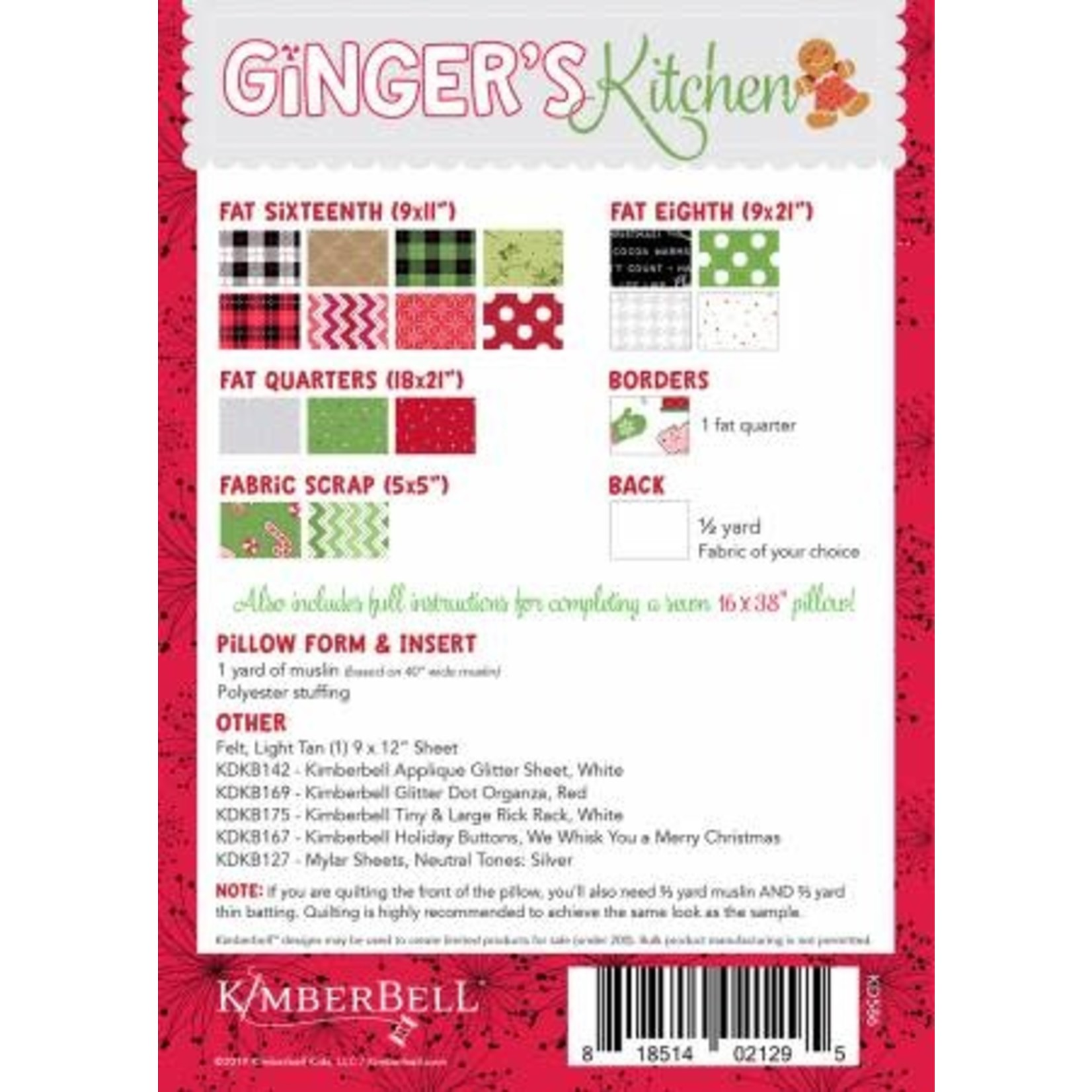 KIMBERBELL DESIGNS Ginger's Kitchen Bench Pillow, Machine Embroidery Version