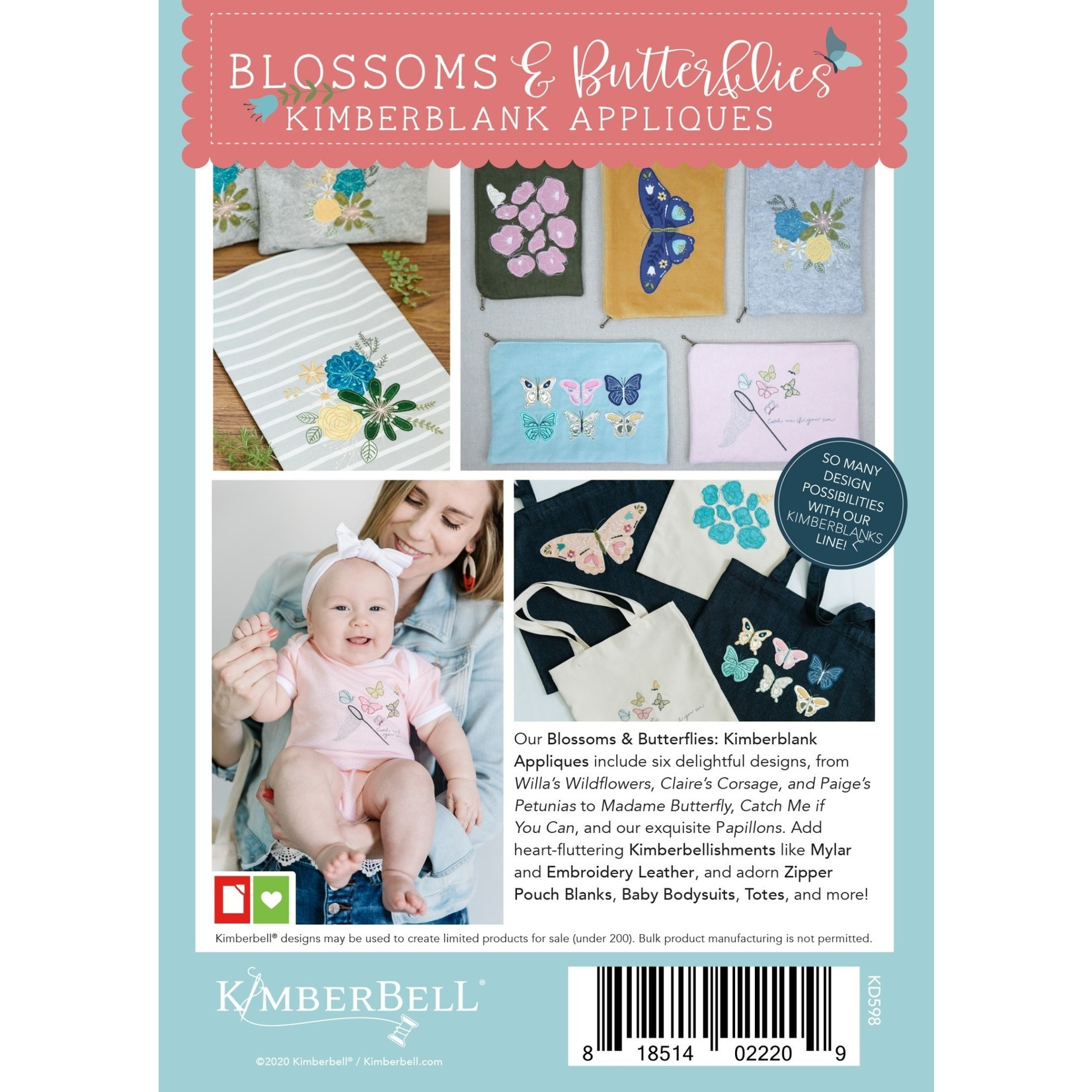 Kimberbell Designs Blossoms & butterflies - Zipper Pouches