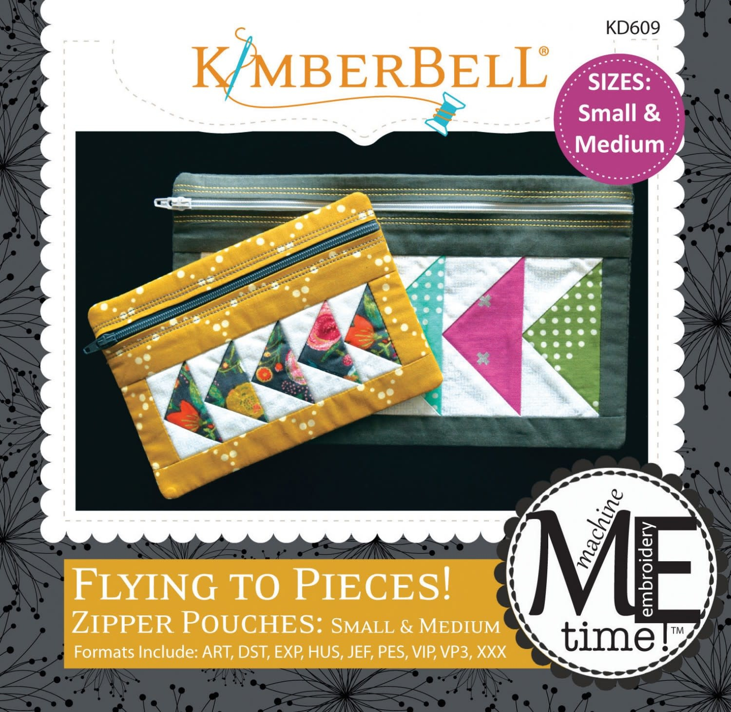 KIMBERBELL DESIGNS ME Time: Flying to Pieces Zipper Pouch (Small & Medium) Embroidery CD