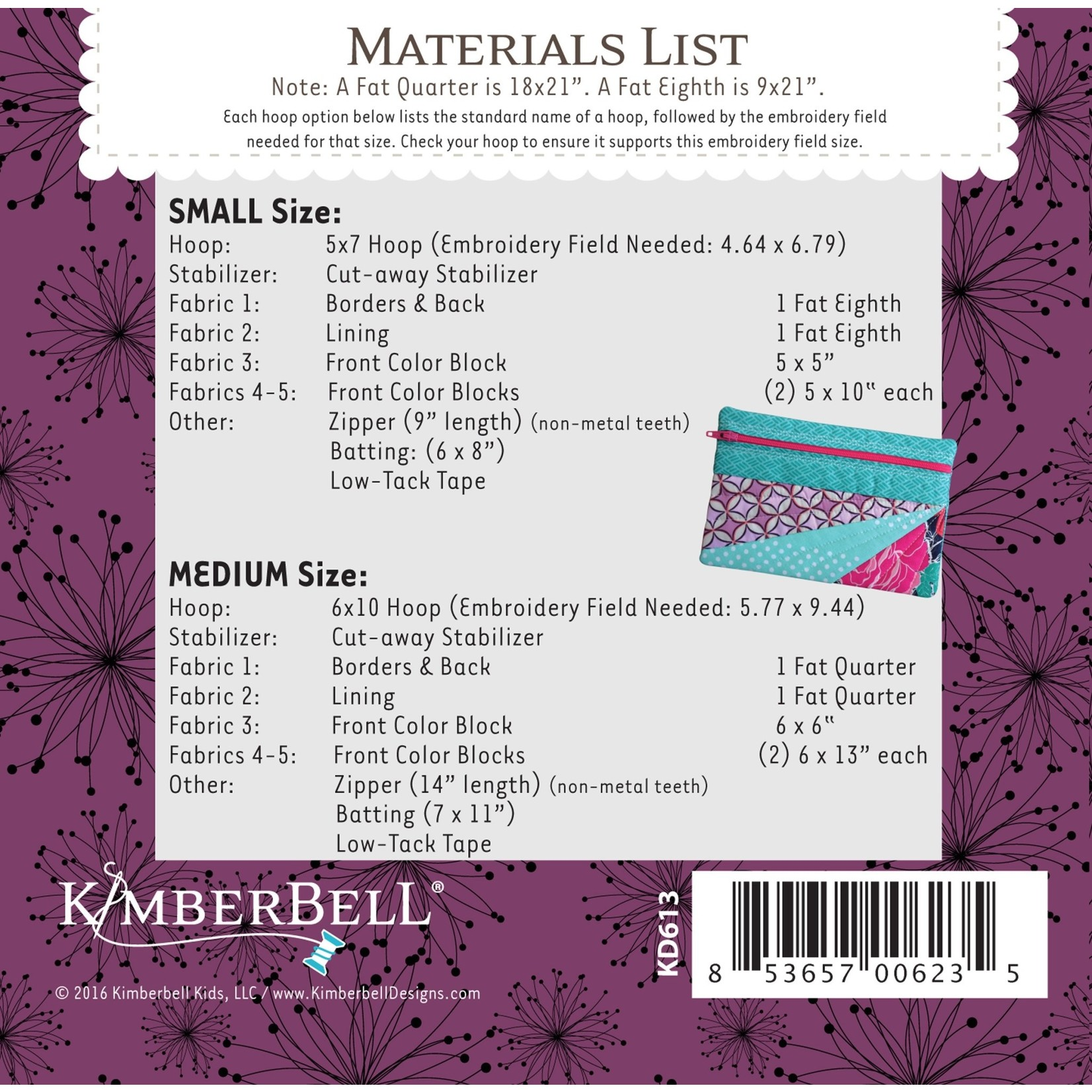KIMBERBELL DESIGNS ME Time: The Jeanette Zipper Pouch: Small & Medium Embroidery CD