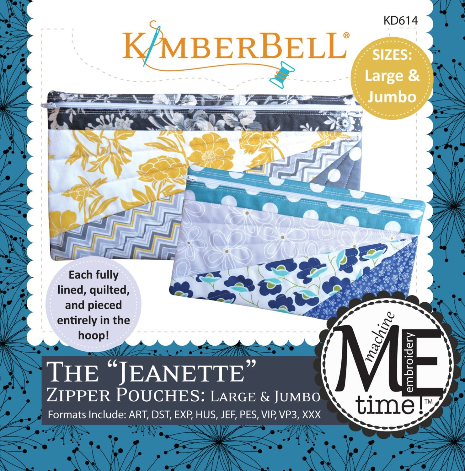KIMBERBELL DESIGNS ME Time: The Jeanette Zipper Pouch: Large & Jumbo Embroidery CD