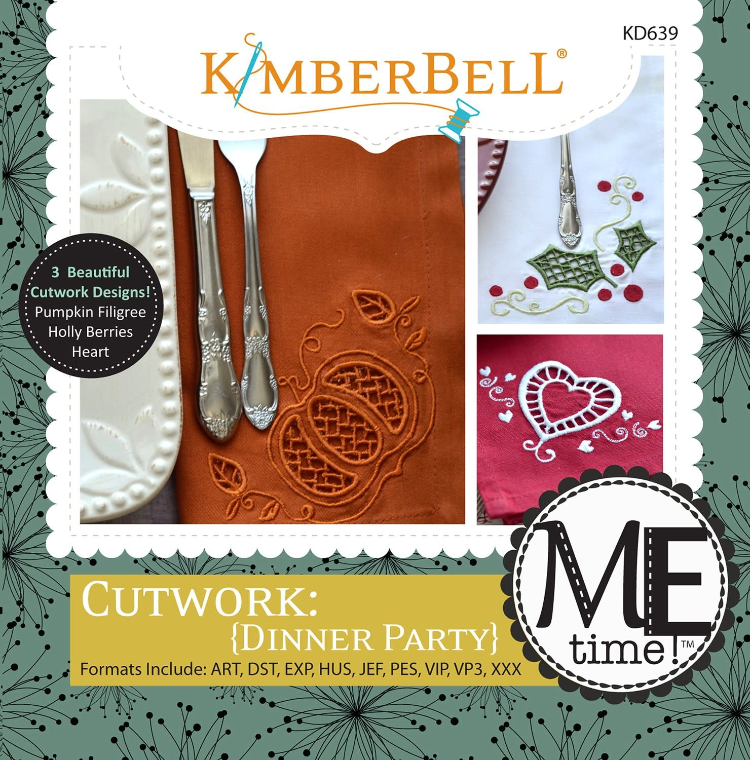 KIMBERBELL DESIGNS ME Time: Cutwork {Dinner Party} Embroidery CD