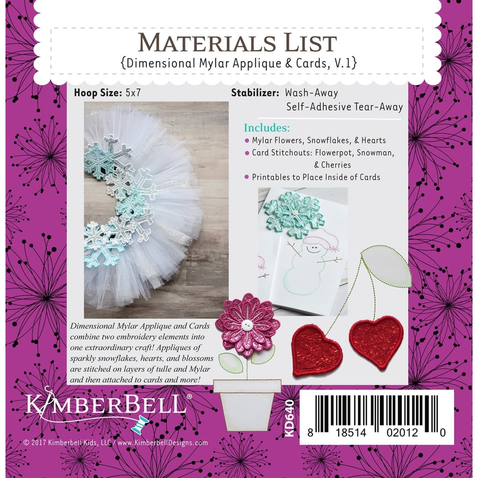 KIMBERBELL DESIGNS ME Time: Dimensional Mylar Applique & Cards, Volume 1 Embroidery CD