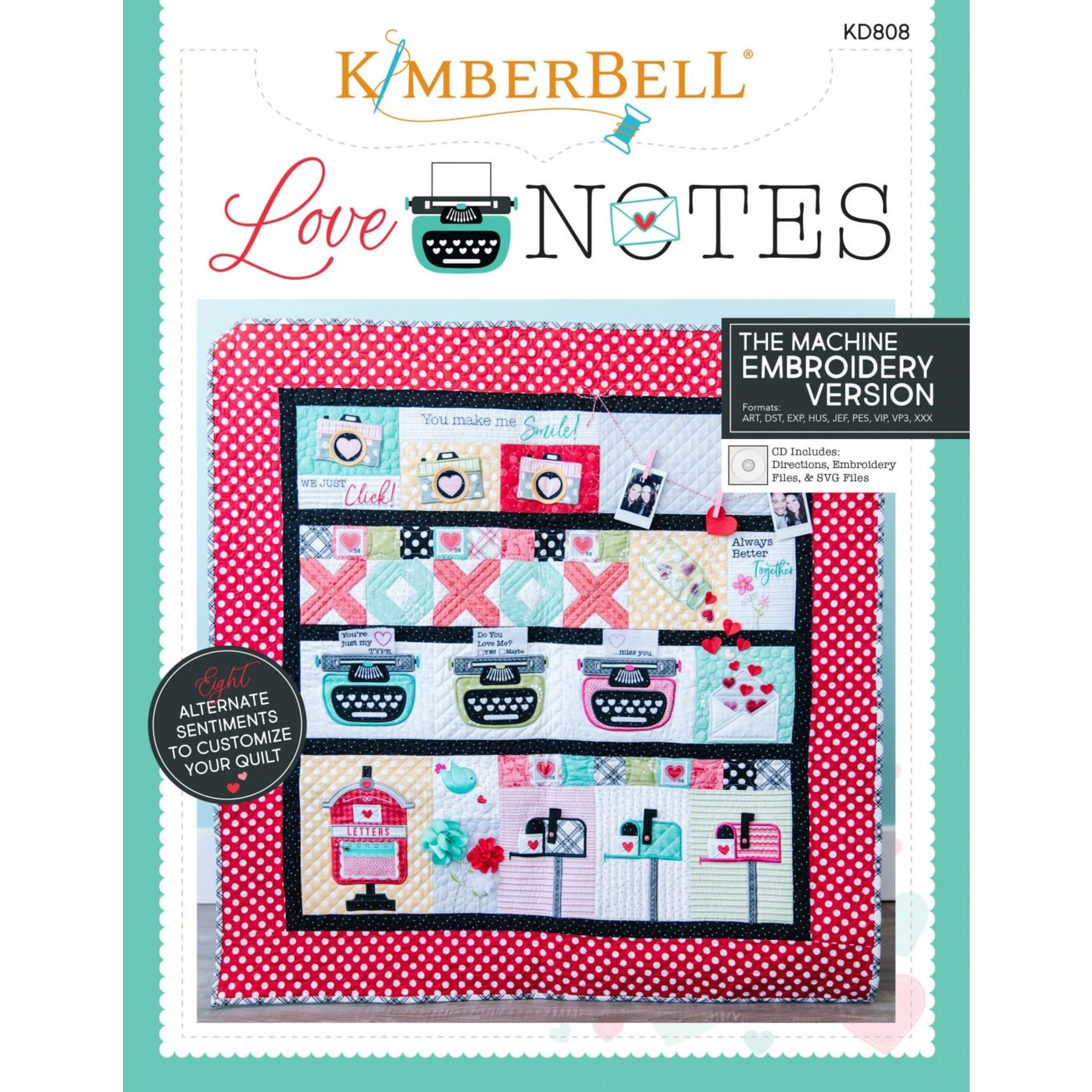 KIMBERBELL DESIGNS Love Notes Sewing Pattern Book and Machine Embroidery CD