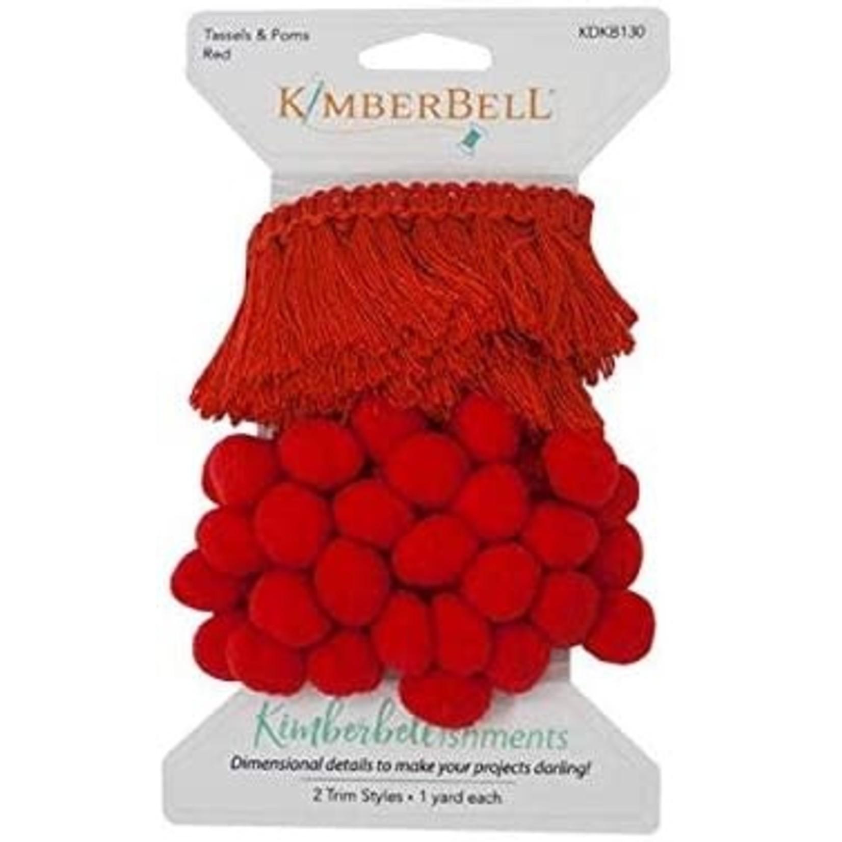 KIMBERBELL DESIGNS Tassels & Poms Trim, Red