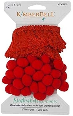 KIMBERBELL DESIGNS Tassels & Poms Trim, Red