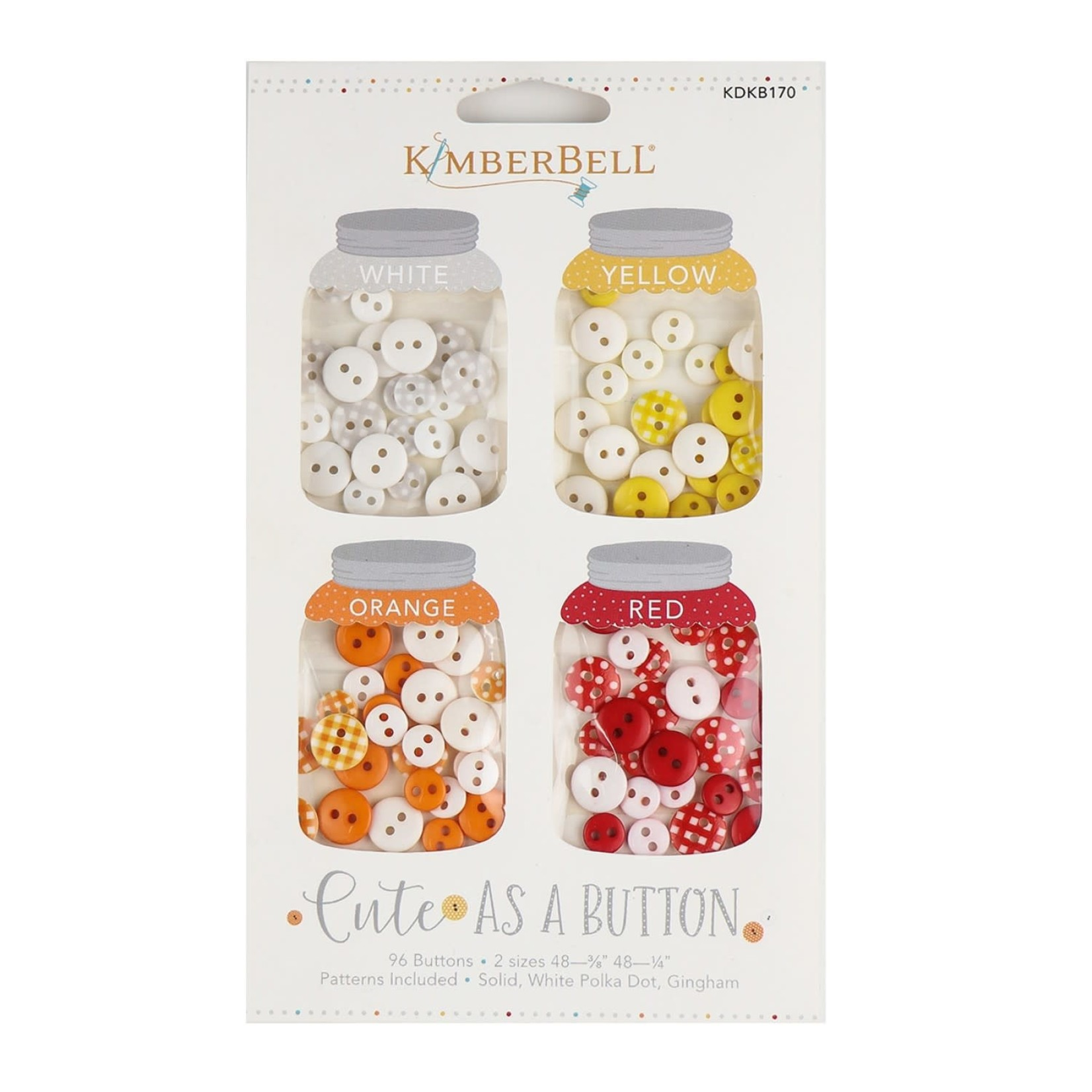 Kimberbell Designs Cute As A Button - White, Yellow, Orange, Red