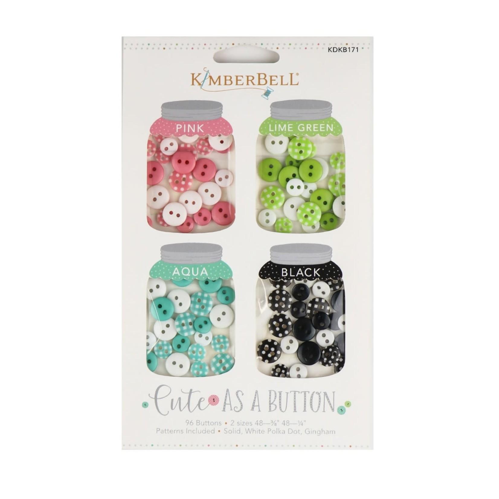 KIMBERBELL DESIGNS Cute As A Button - Pink, Lime Green, Aqua, Black