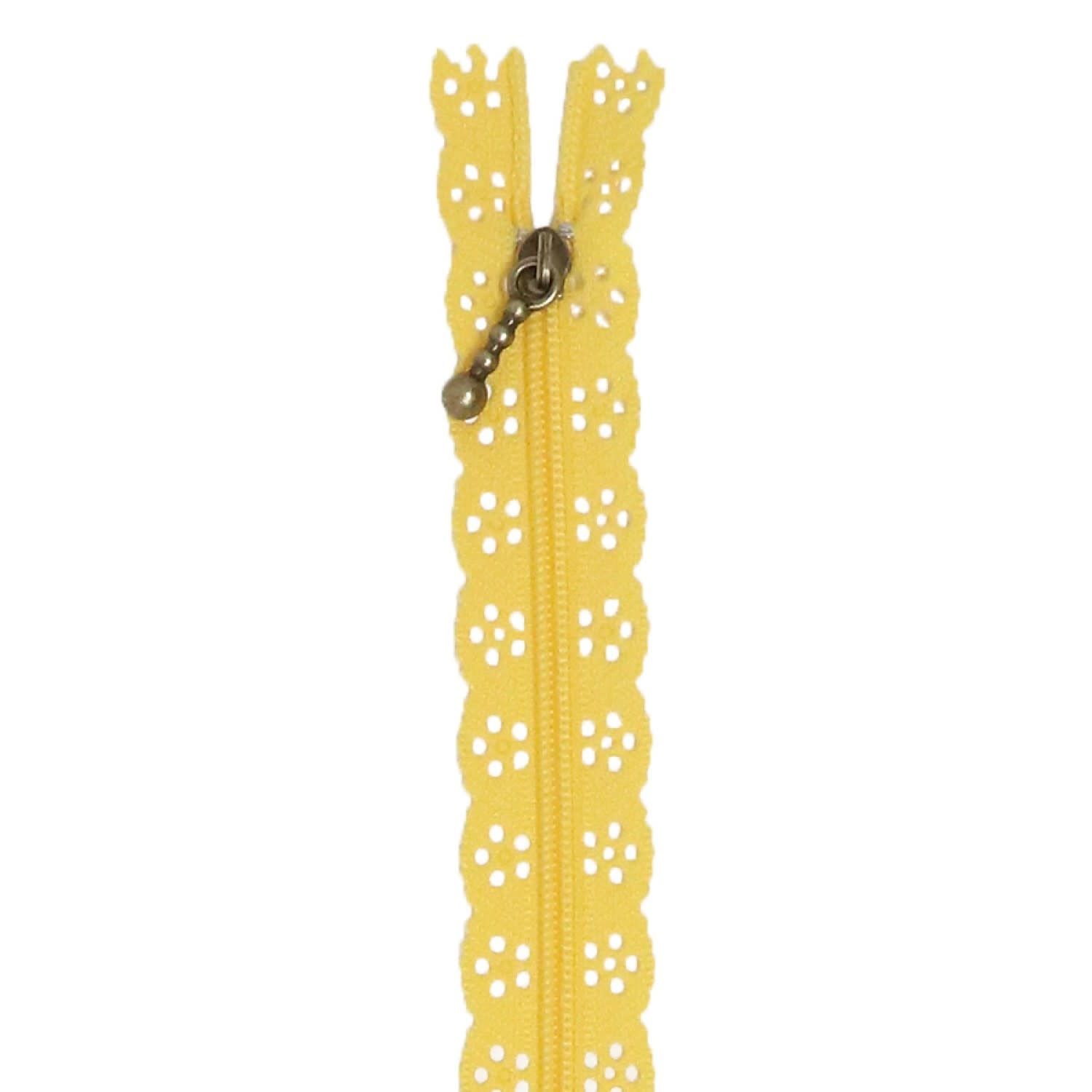 """KIMBERBELL DESIGNS Lace Zipper 14"""" - Canary Yellow"""