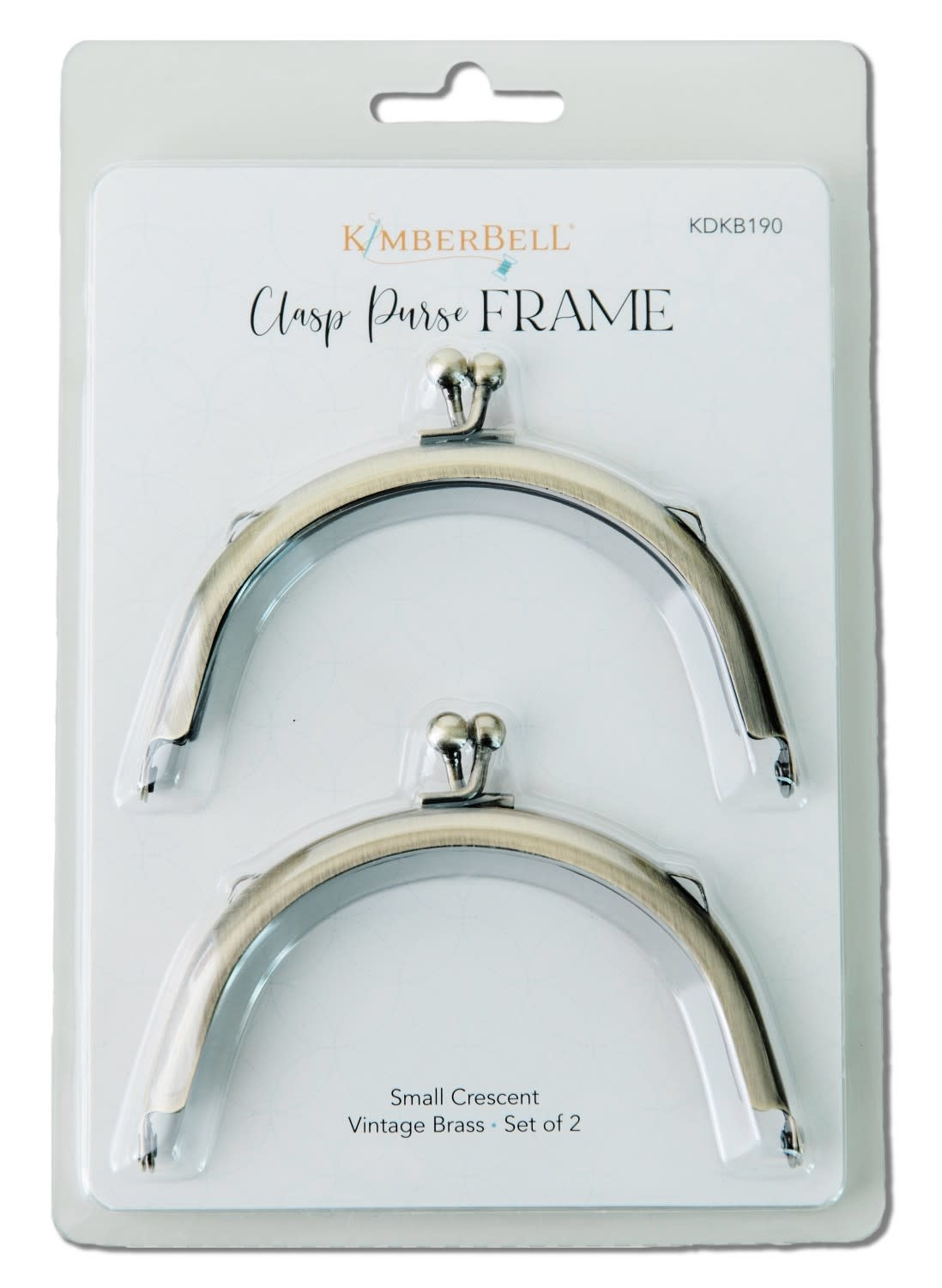 KIMBERBELL DESIGNS Clasp Purse Frame, Small Crescent-Vintage Brass set of 2