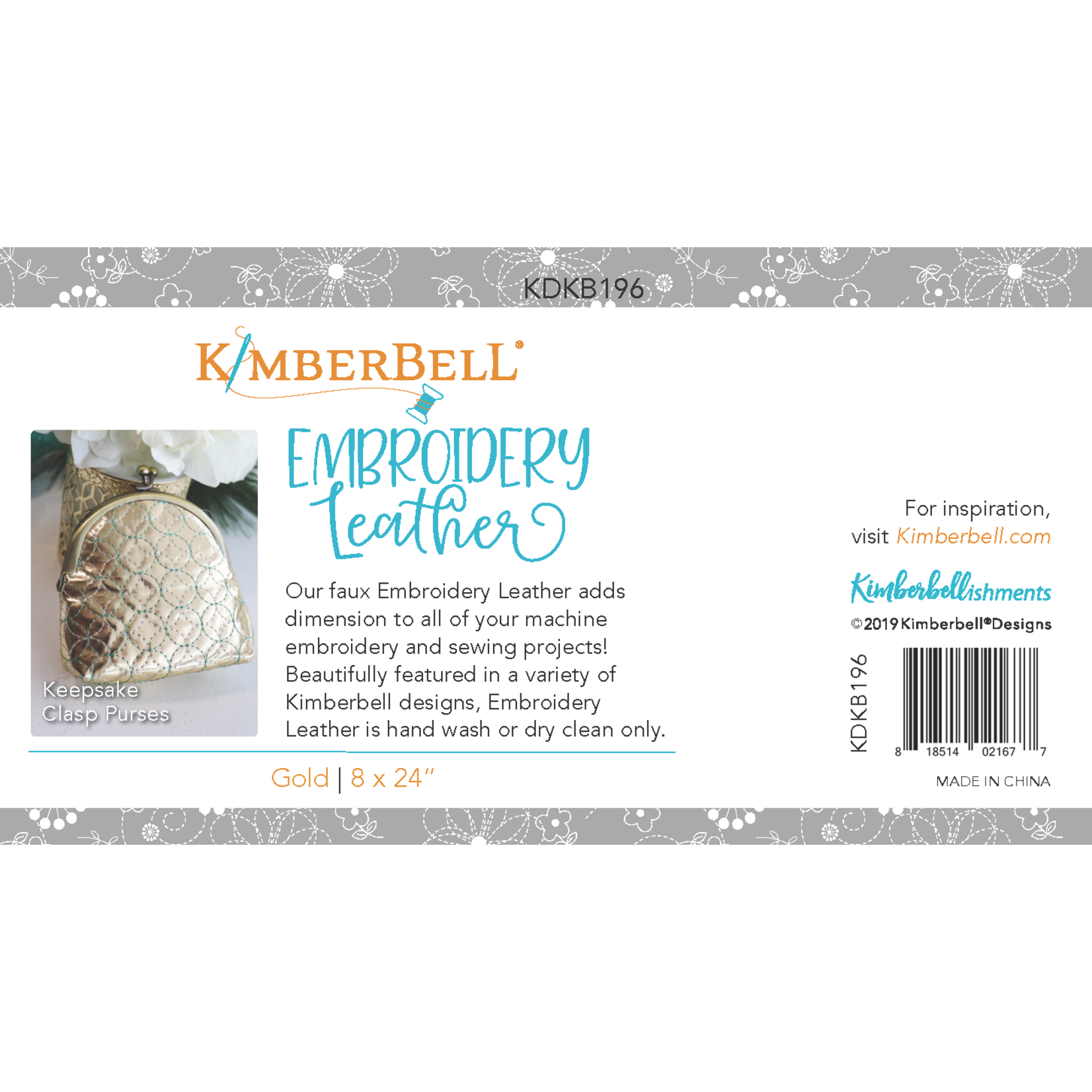 KIMBERBELL DESIGNS Embroidery Leather:  Gold