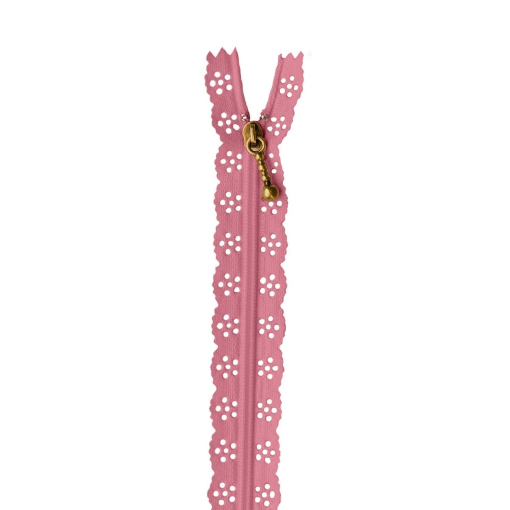 "Kimberbell Designs Lace Zipper 14"" - Flamingo"