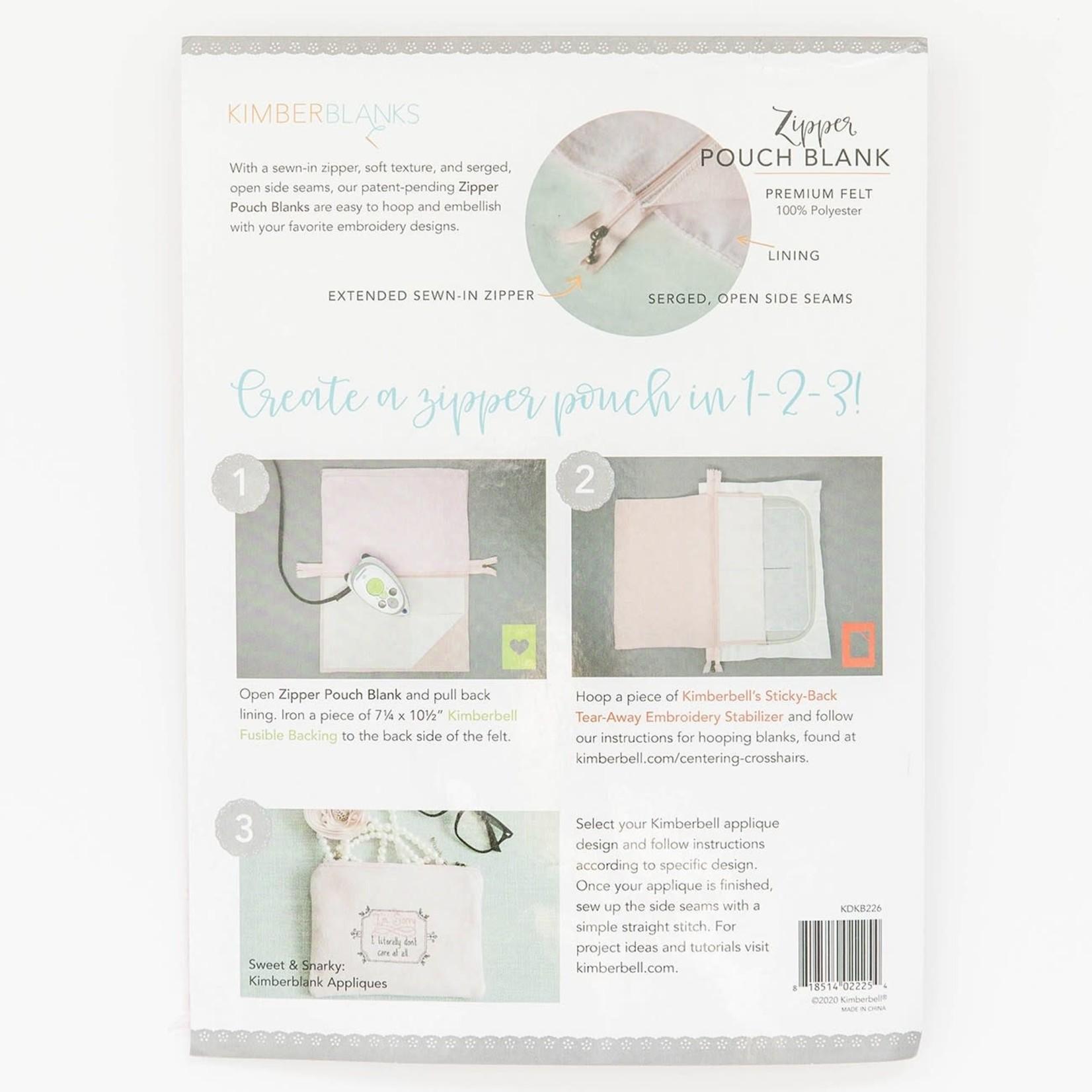 Kimberbell Designs Blush Felt Zipper Pouch Blank, Small