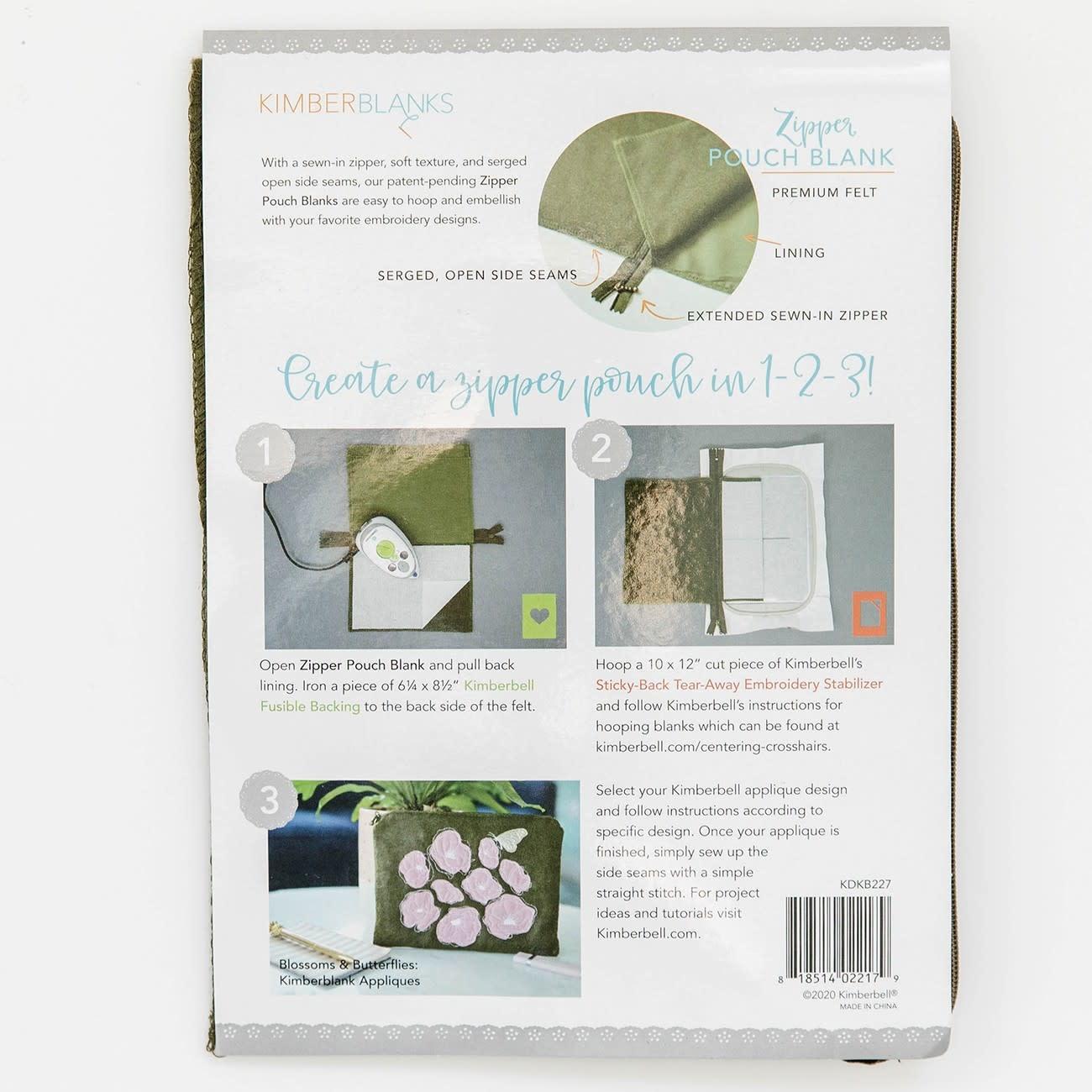 KIMBERBELL DESIGNS Olive Felt Zipper Pouch Blank, Small