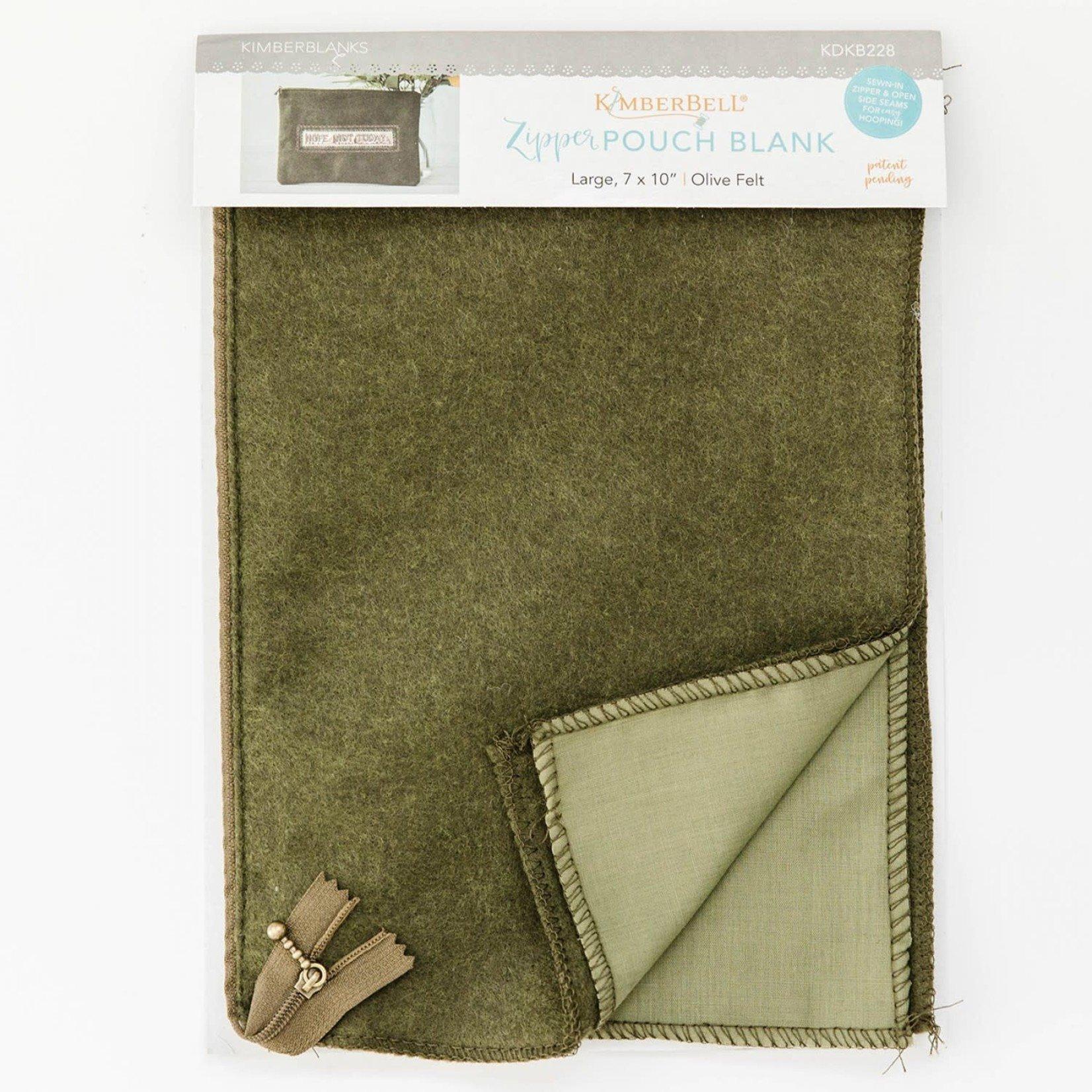 Kimberbell Designs Olive Felt Zipper Pouch Blank, Large