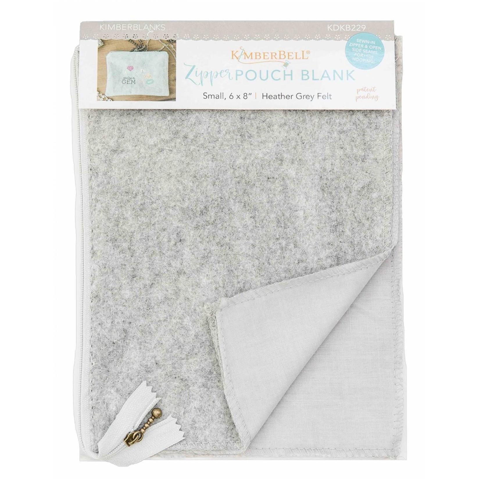 Kimberbell Designs Heather Gray Felt Zipper Pouch Blank, Small