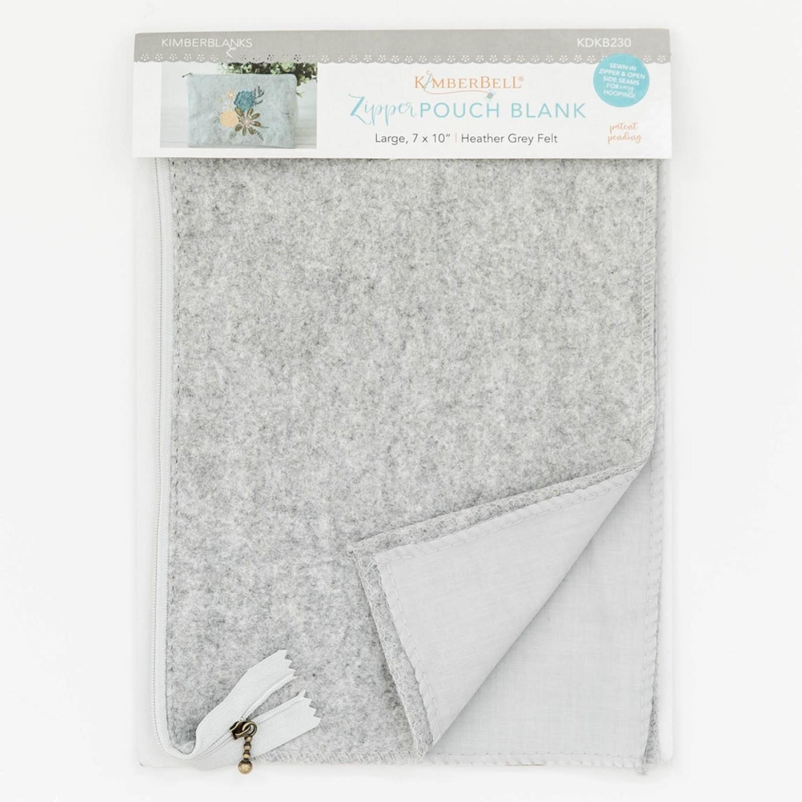 KIMBERBELL DESIGNS Heather Gray Felt Zipper Pouch Blank, Large